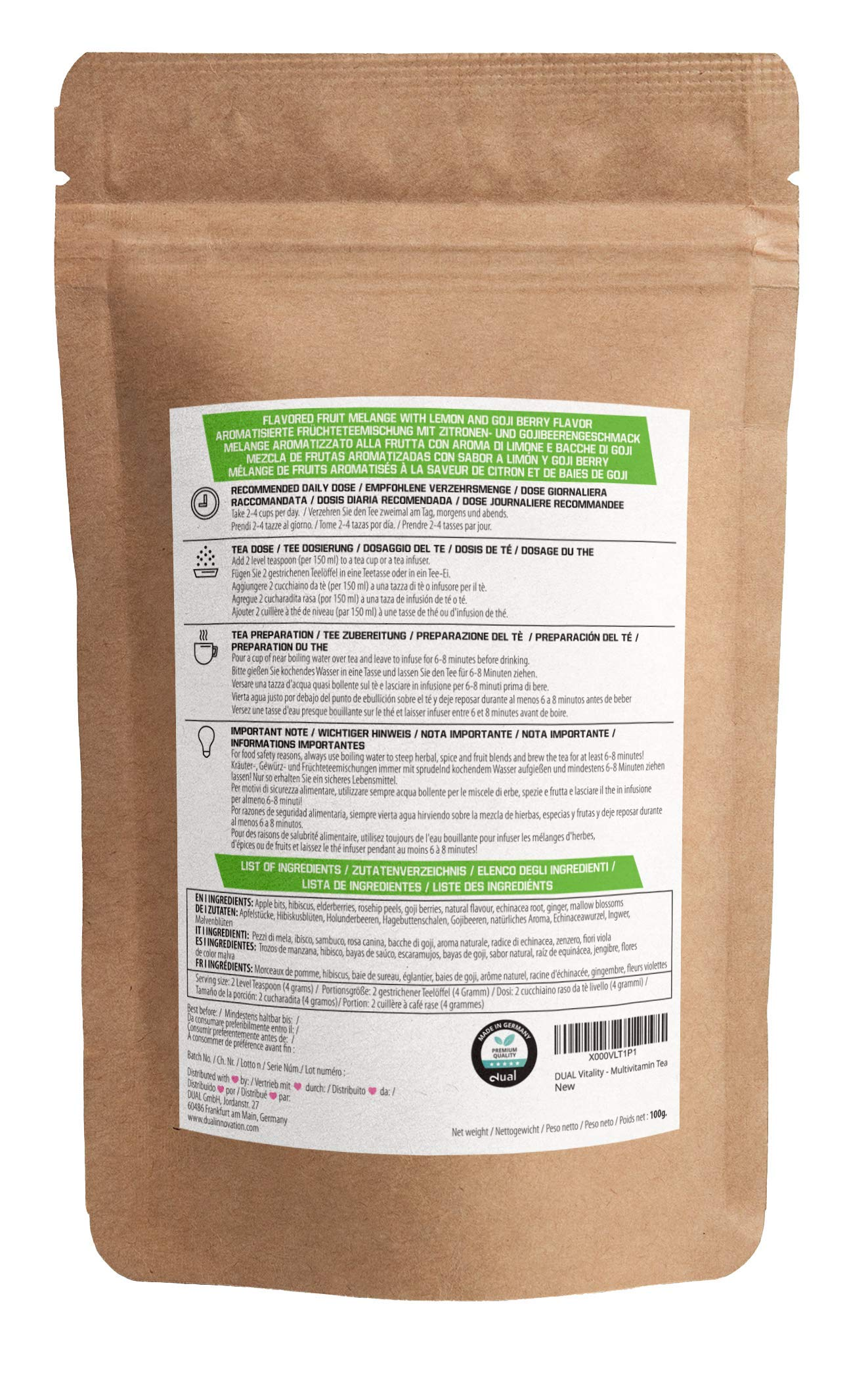 DUAL-Vitality-Multivitamin-Tee-100-Natrlich-Antioxidativ-und-Vitaminreich-Zitrone-Goji-Beerengeschmack-Zuckerfrei-Additivfrei-Erfrischend-100g-Lose-Teebltter-Labor-zertifiziert