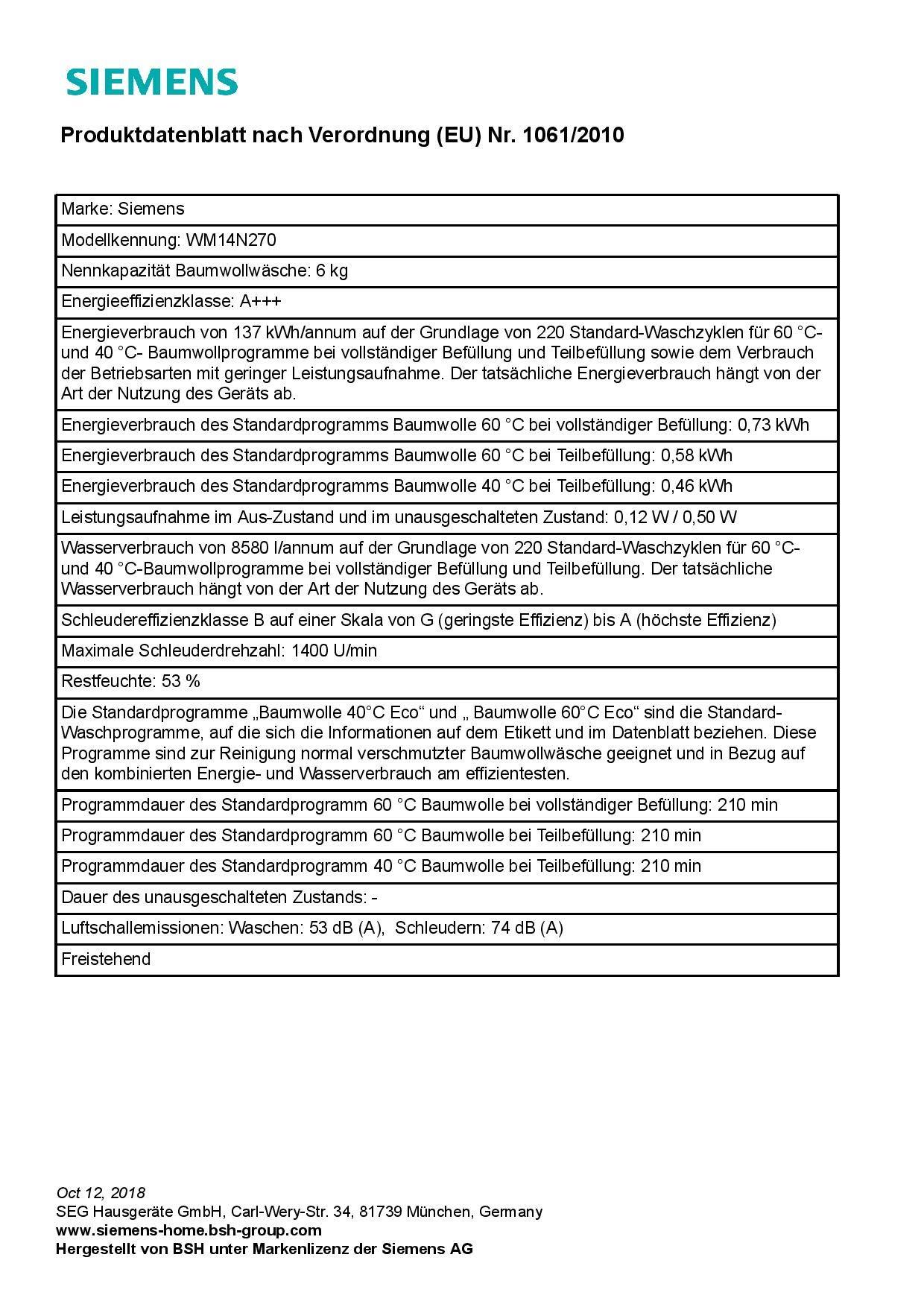 Siemens-iQ300-Waschmaschine-WM14N270-600-kg-A-137-kWh-1400-Umin-Schnellwaschprogramm-Nachlegefunktion-aquaStop-mit-lebenslanger-Garantie