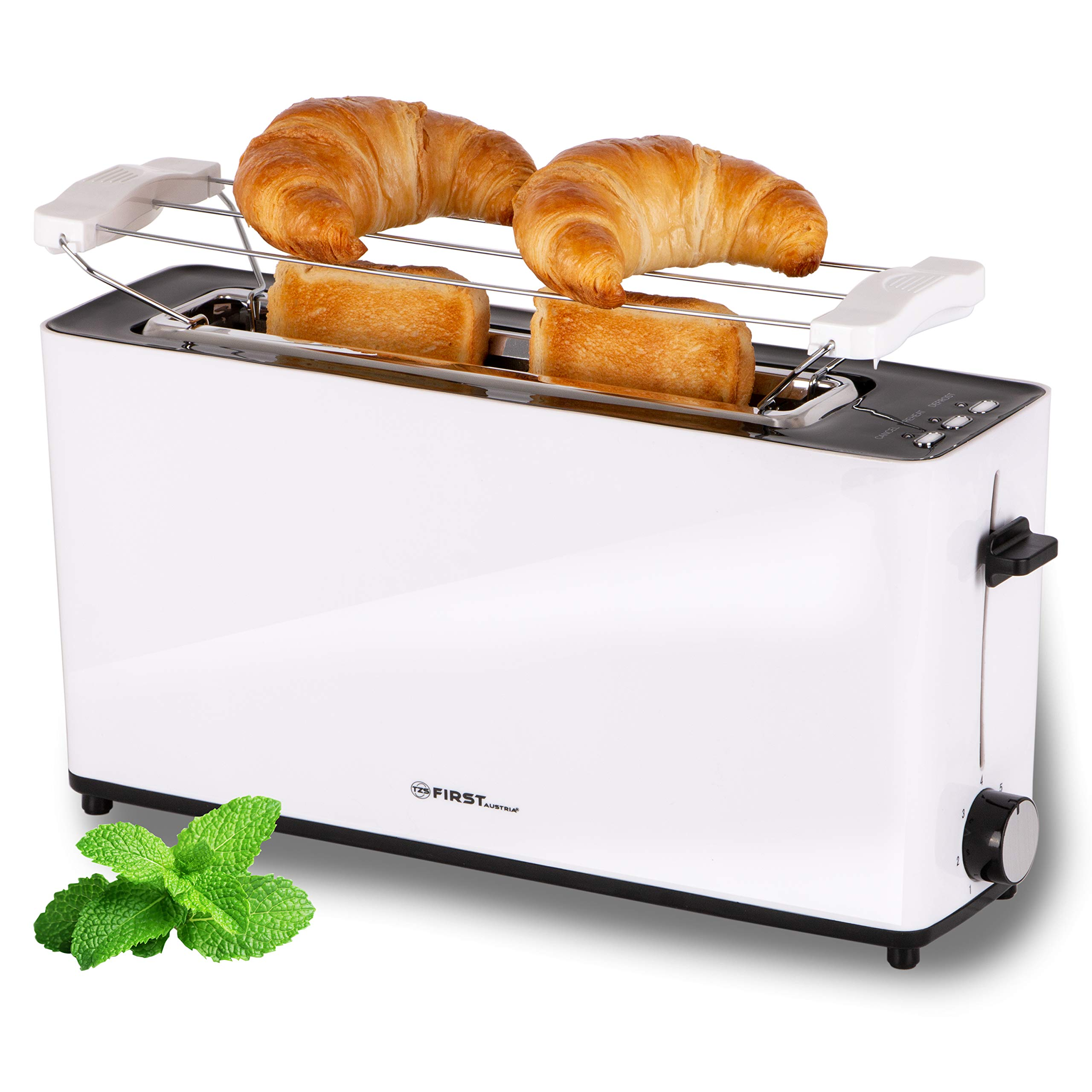 TZS-First-Austria-2-Scheiben-Langschlitztoaster-Toaster-mit-Nachhabe-Funktion-Cool-Touch-Gehuse-integrierter-Brtchenaufsatz-Krmelschublade-Sandwichtoast-geeignet-Langschlitz-Toaster-wei