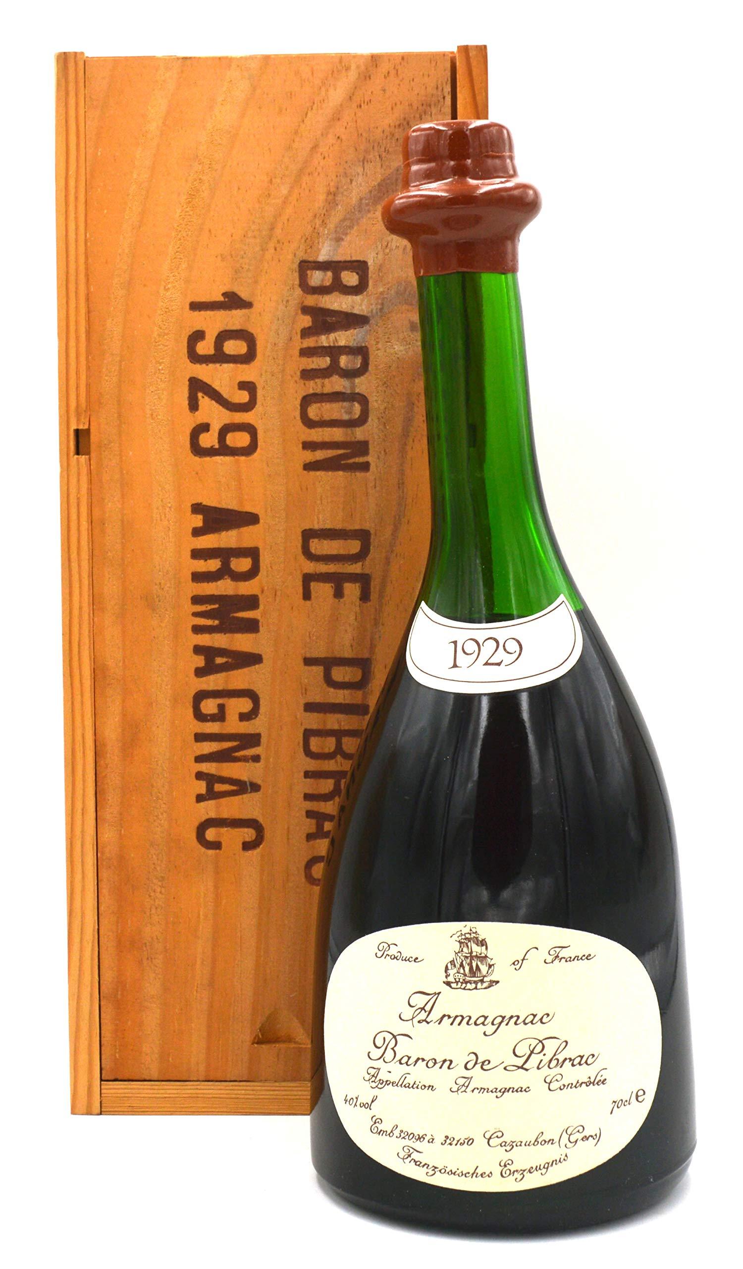 Raritt-Armagnac-Baron-de-Pibrac-07l-Jahrgang-1929-inkl-Holzkiste