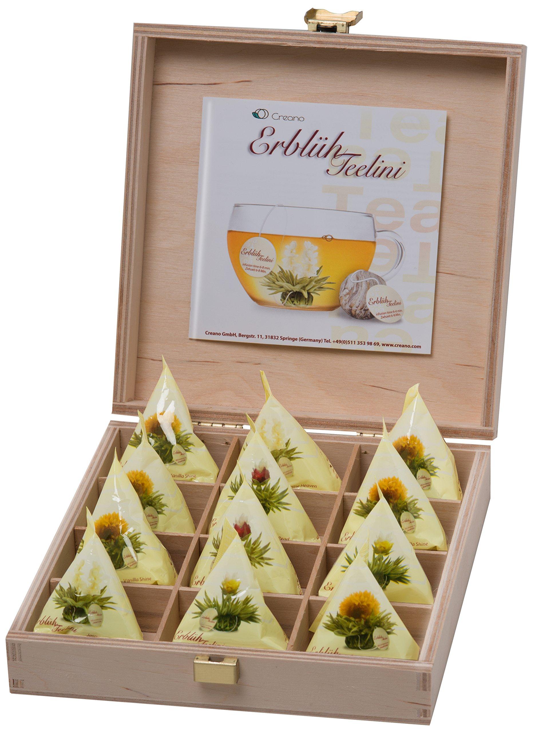 Creano-Teelini-Teeblumen-im-Tassenformat-Geschenkset-in-Teekiste-aus-Holz-12-ErblhTeelini-in-4-Sorten-Weier-Tee