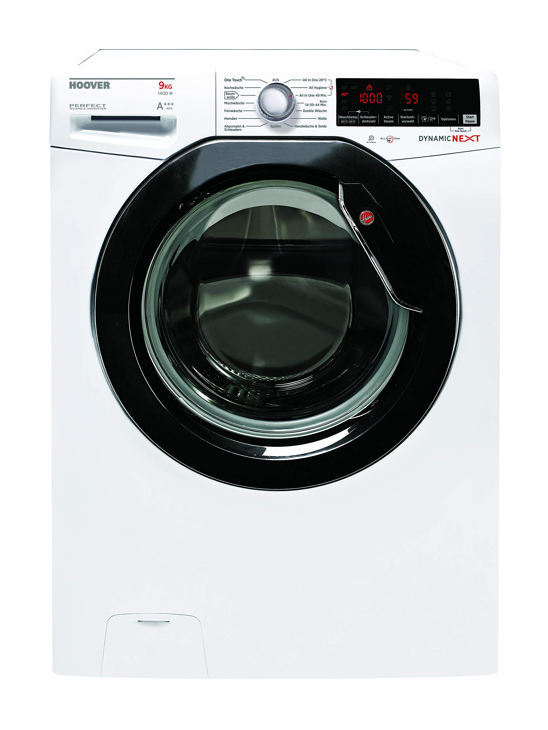 Waschmaschine-Frontlader-von-Hoover-9kg-1400-UMin-Superleiser-Inverter-Motor-48dB-Waschgang-14-Programme-ua-Dampfprogramm-Startzeitvorwahl-Digitales-Touchdisplay-NFC-Technologie