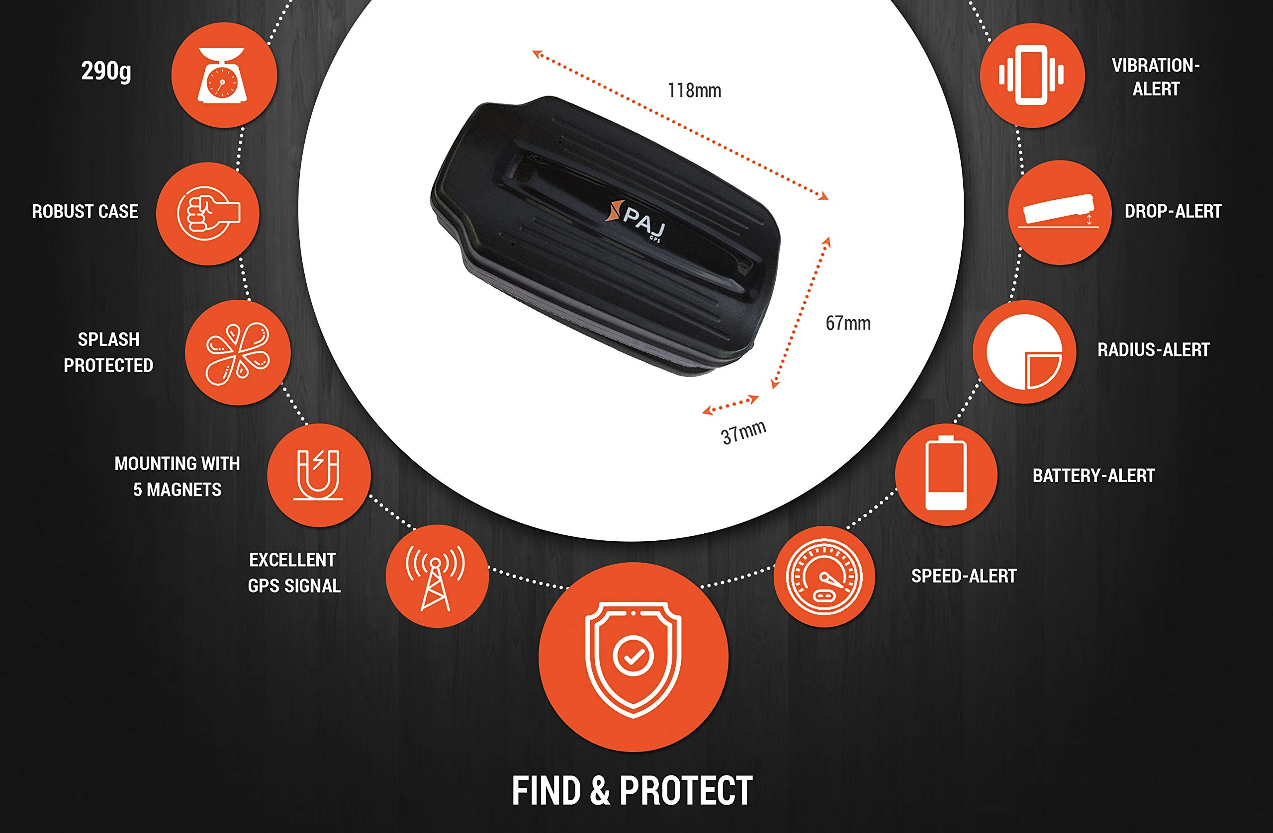 PAJ-GPS-Power-Finder-GPS-Tracker-inkl-Magneten-als-Diebstahlschutz-fr-Auto-Wohnmobil-Boot-mit-40-Tage-Li-ion-Akku-Ortung-mit-App