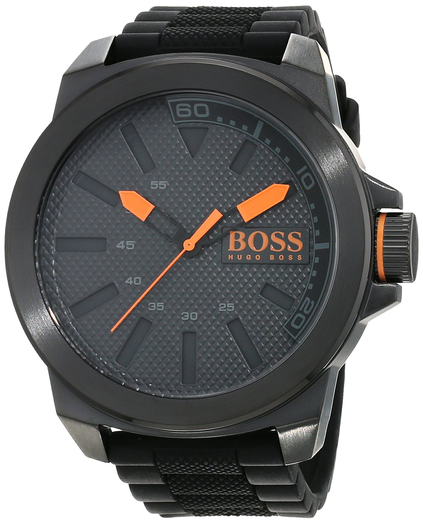 Hugo-Boss-Orange-New-York-Herren-Armbanduhr-Quartz-mit-schwarzem-Silikon-Armband-1513004