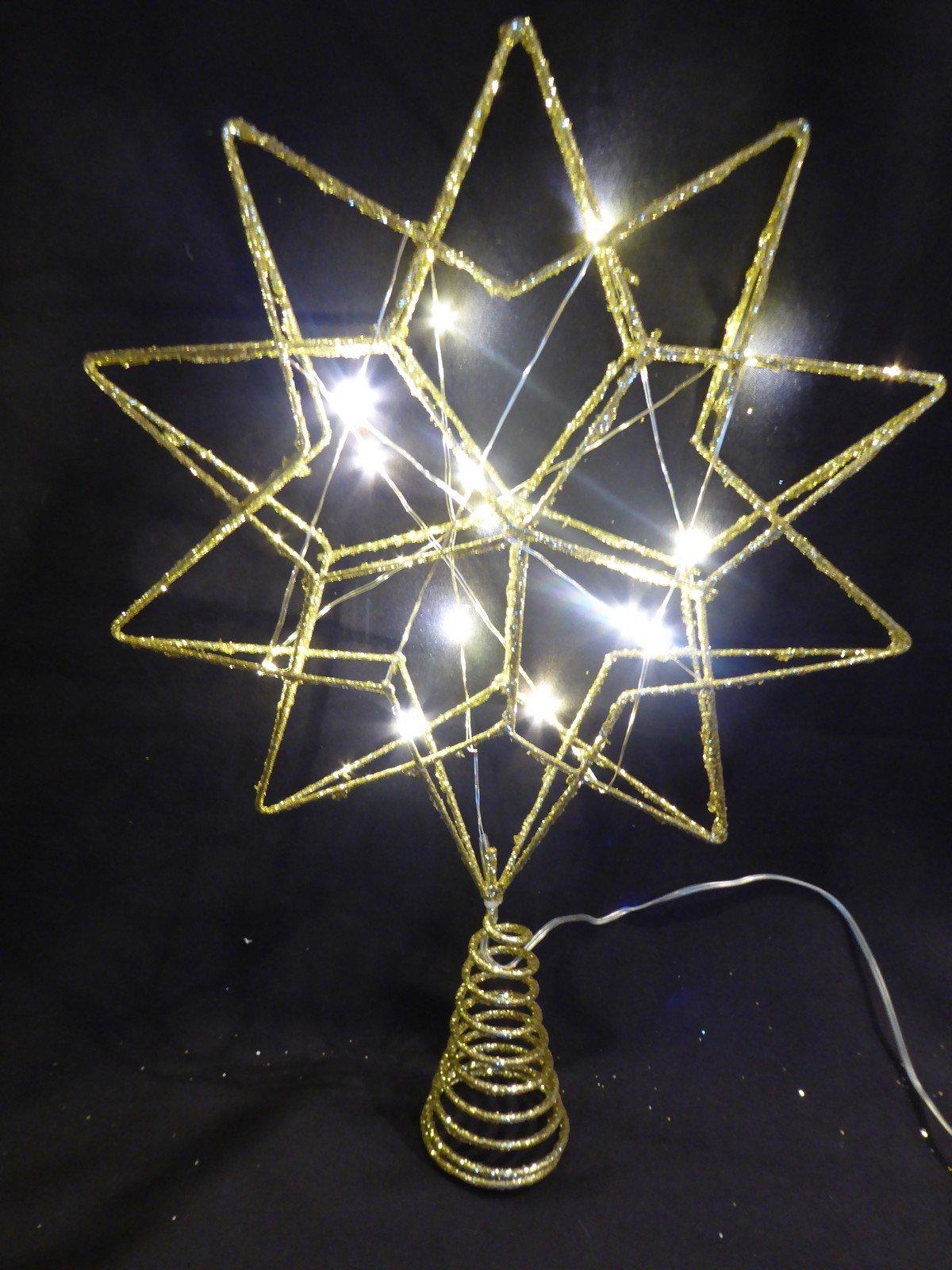 UK-Gardens-Weihnachtsschmuck-Stern-35-cm-gro-batteriebetrieben-LED-beleuchtet-Gold-Glitzer-fr-den-Innenbereich-als-Christbaumspitze-geeignet