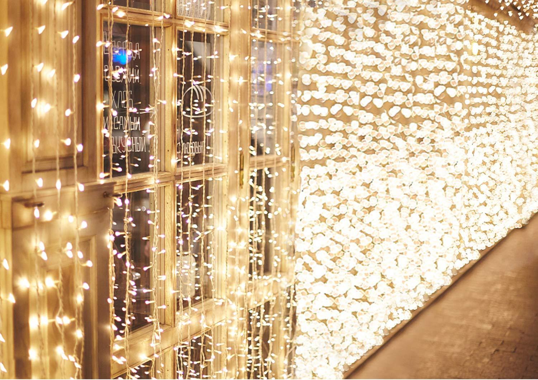 600-LEDs-Lichterkette-6m-3m-IDESION-8-Betriebsarten-LED-Lichtervorhang-fr-Innenausstattung-Auenbereich-Schlafzimmer-Hochzeit-Weihnachten-Party