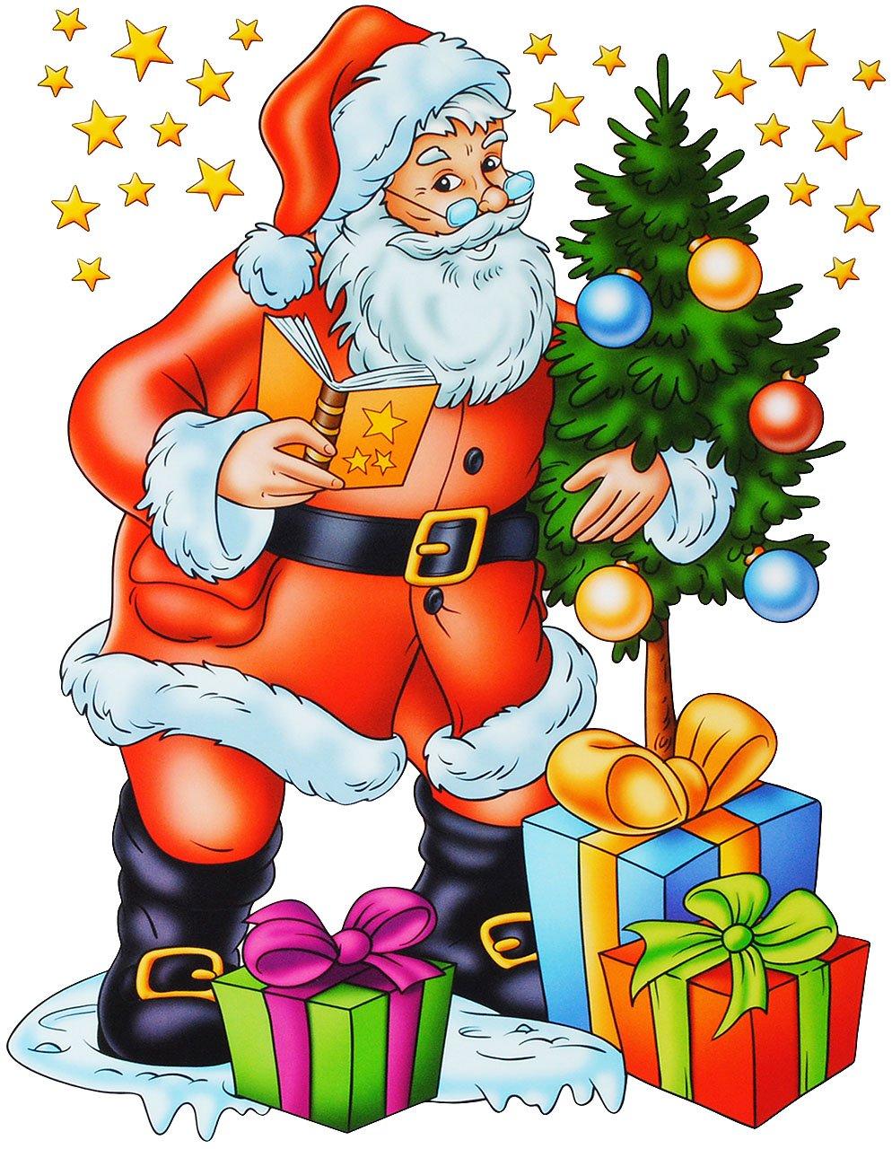 alles-meinede-GmbH-statisch-haftende-XL-Fensterbilder-lustige-Weihnachten-Schneemann-Weihnachtsbaum-Weihnachtsmann-wiederverwendbar-selbstklebend-Sticker-Fenst