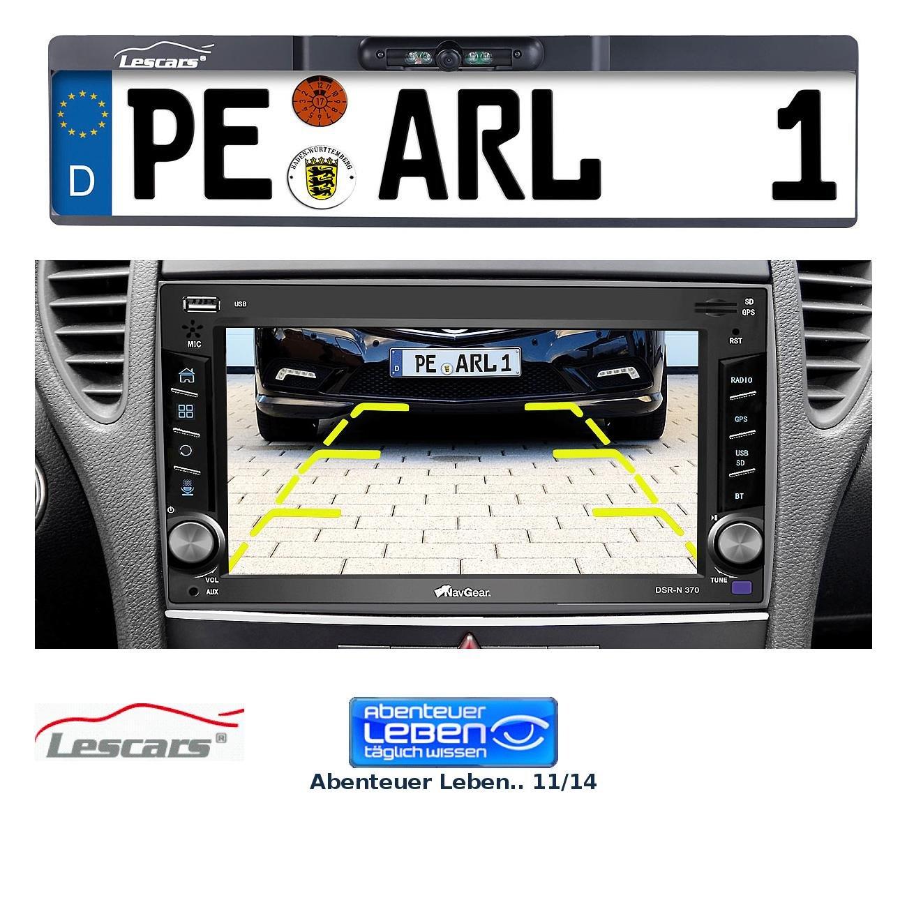 Lescars-Rckfahrkamera-Funk-Rckfahr-Kamera-im-Nummernschild-Halter-fr-Autoradio-Anschluss-Rckfahrkamera-Funk