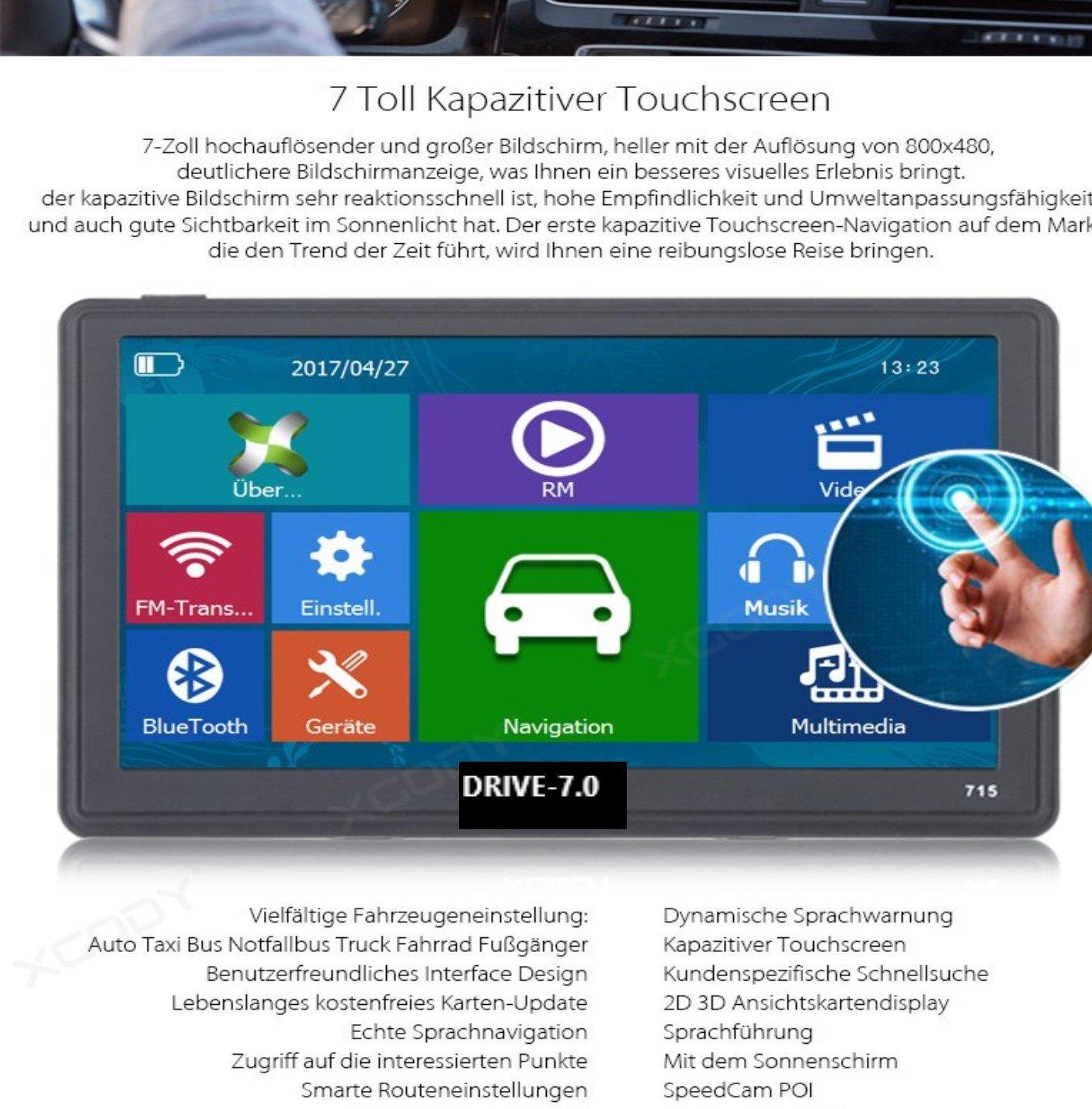 7-Zoll-GPS-Navigationssysteme-Navi-Drive-70-fr-LKWPKWWOHNMOBIL-Bus-256MB-Kapazitiver-Touchscreen-DEUTSCHE-HNDLER-Radarwarner-Kostenlos-Update-8GB-Gratis-Sonnenblende