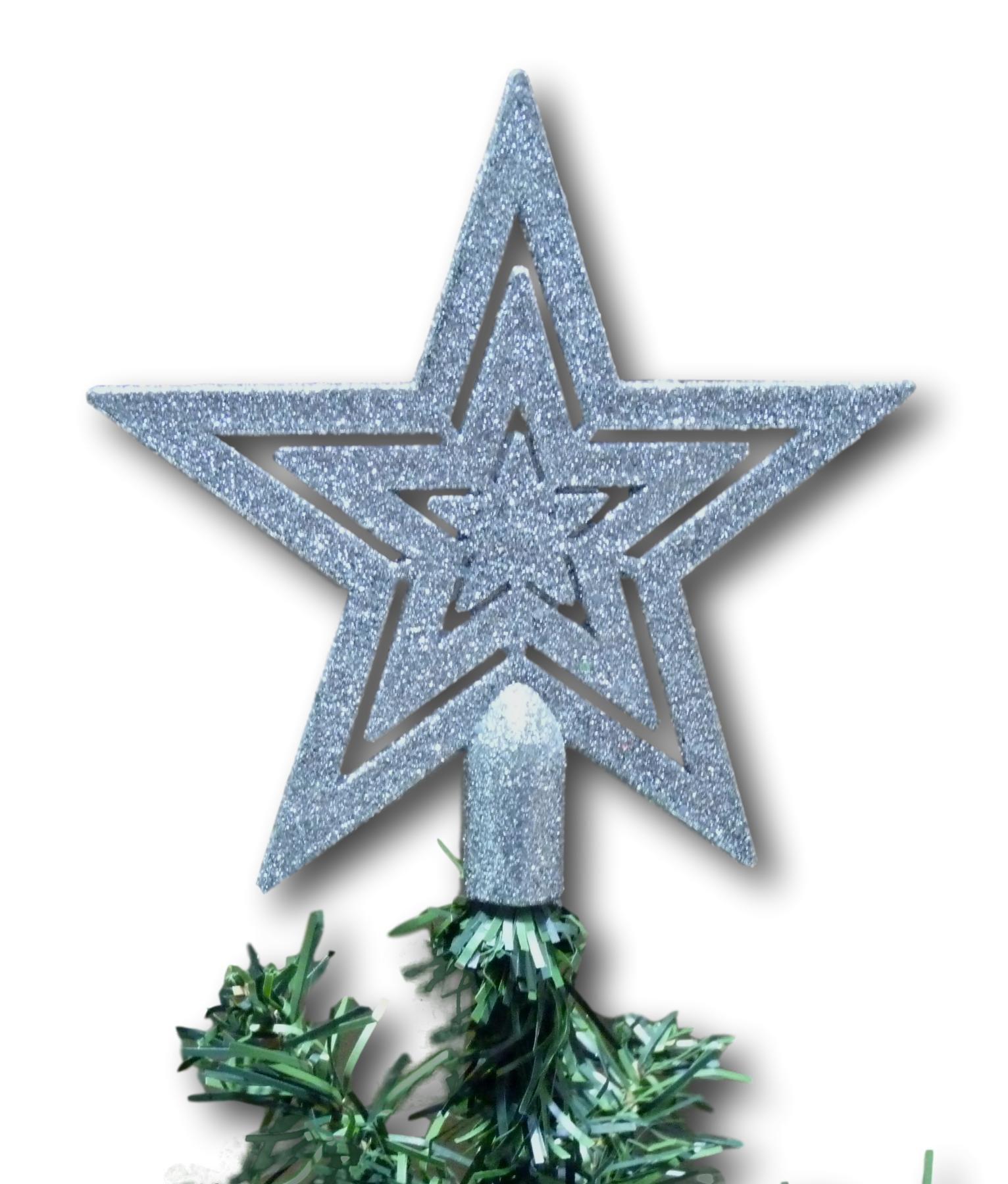 UrbanDesign-Weihnachtsbaumspitze-Baumspitze-Baumstern-Spitze-Stern-Baumschmuck-Weihnachtsbaum-Stern-Weihnachtsstern-Glitzer-Frost-Silber-Glitzer
