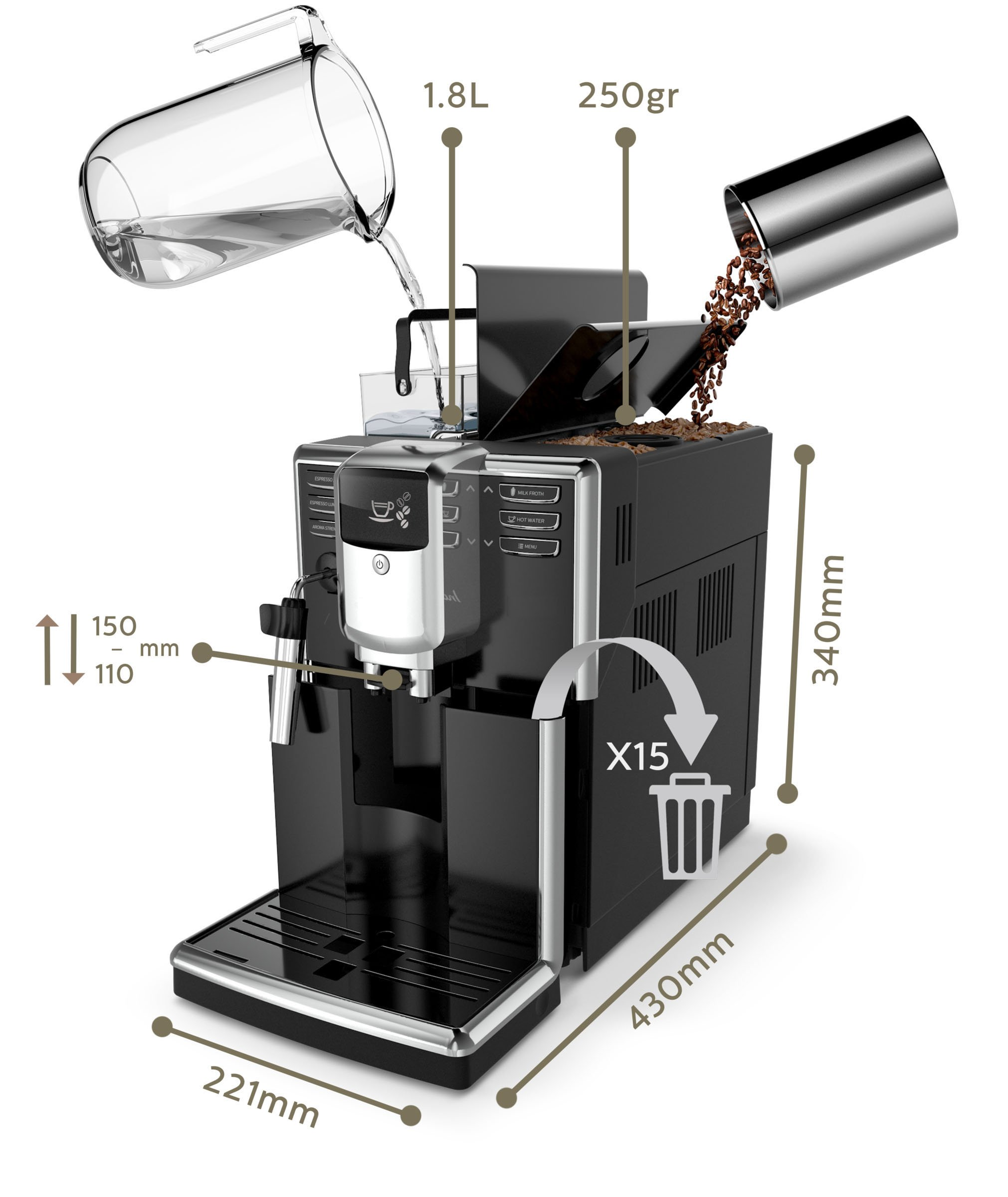 Philips-EP531010-Kaffeevollautomat-AquaClean-automatischer-Milchaufschumer-schwarz