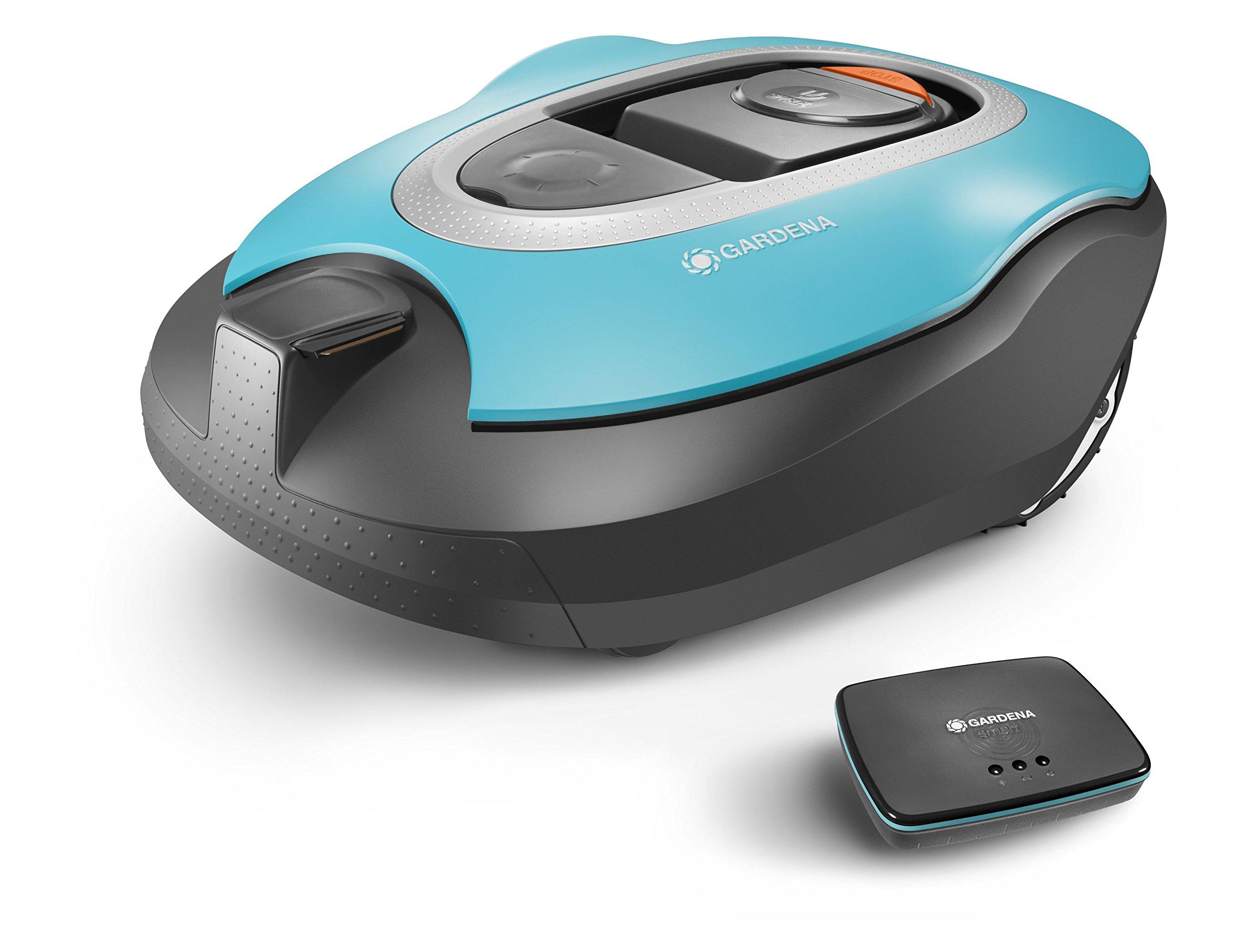 GARDENA-smart-SILENO-Set-Mhroboter-mit-Vernetzung-fr-Rasenflchen-bis-1000-qm-steuerbar-per-SmartPhone-und-App-Steigungen-bis-zu-35-geruscharm-mit-60-dBA-inkl-smart-Gateway-19060-60