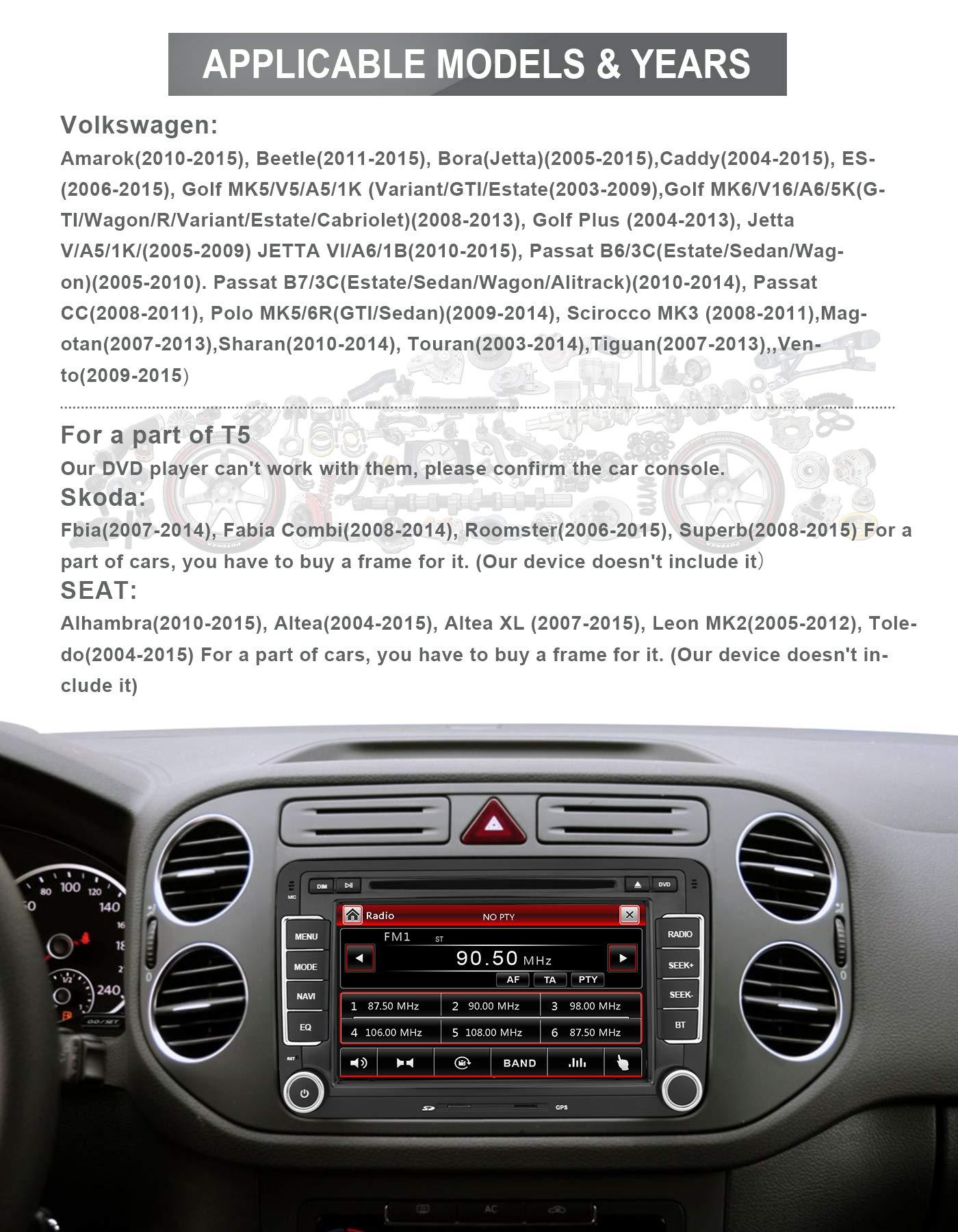 Aumume-7-Zoll-Autoradio-fr-Golf-VW-Skoda-Seat-mit-Navi-Bluetooth-Untersttzung-GPS-Navigation-Radio-Parkkamera-Lenkradsteuerung-mit-8-GB-Karte