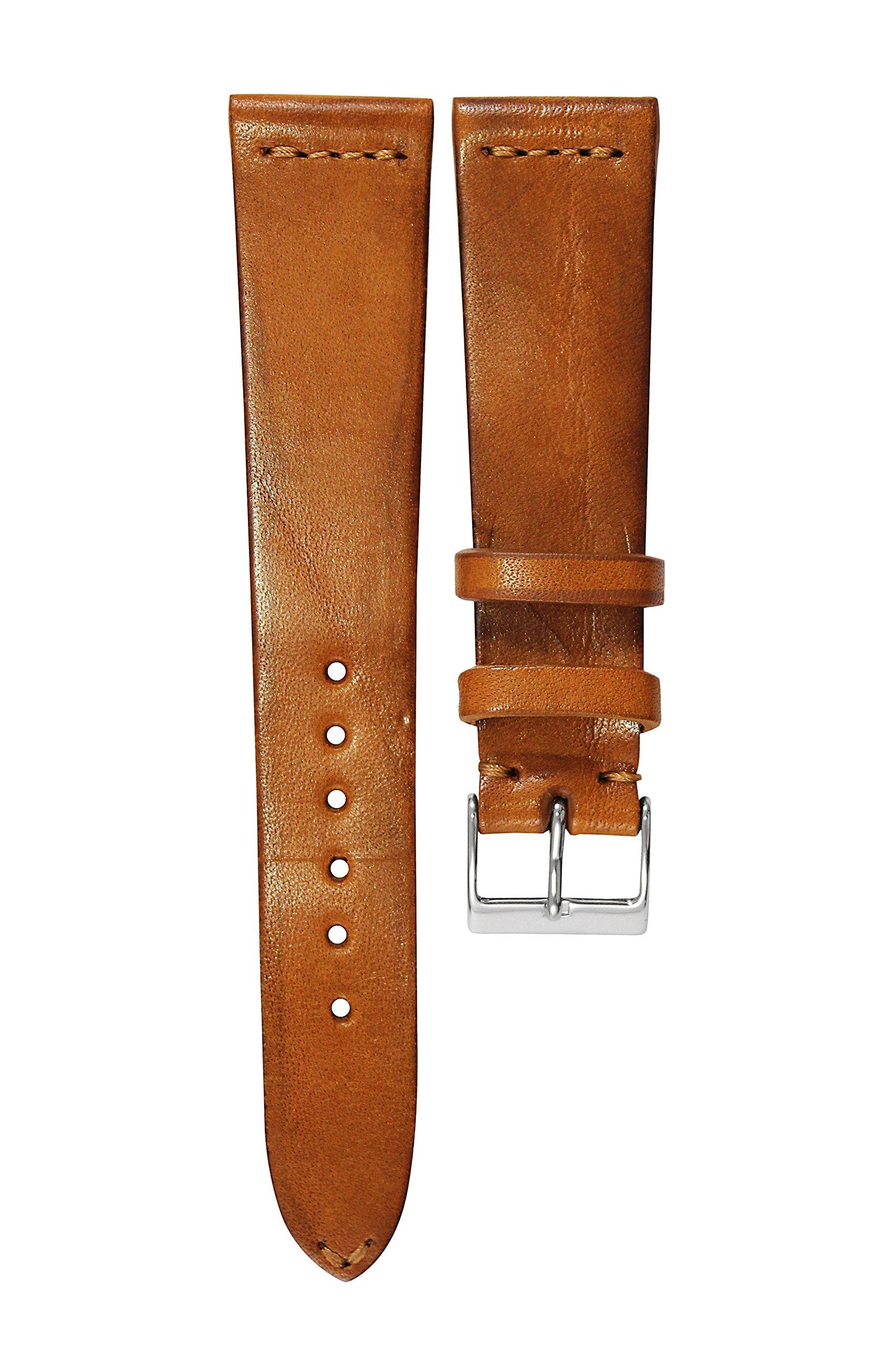 Rom-Uhrenarmband-HORWOOD-Handgefertig-Italien-20mm-Bandbreite-Leder-Braun