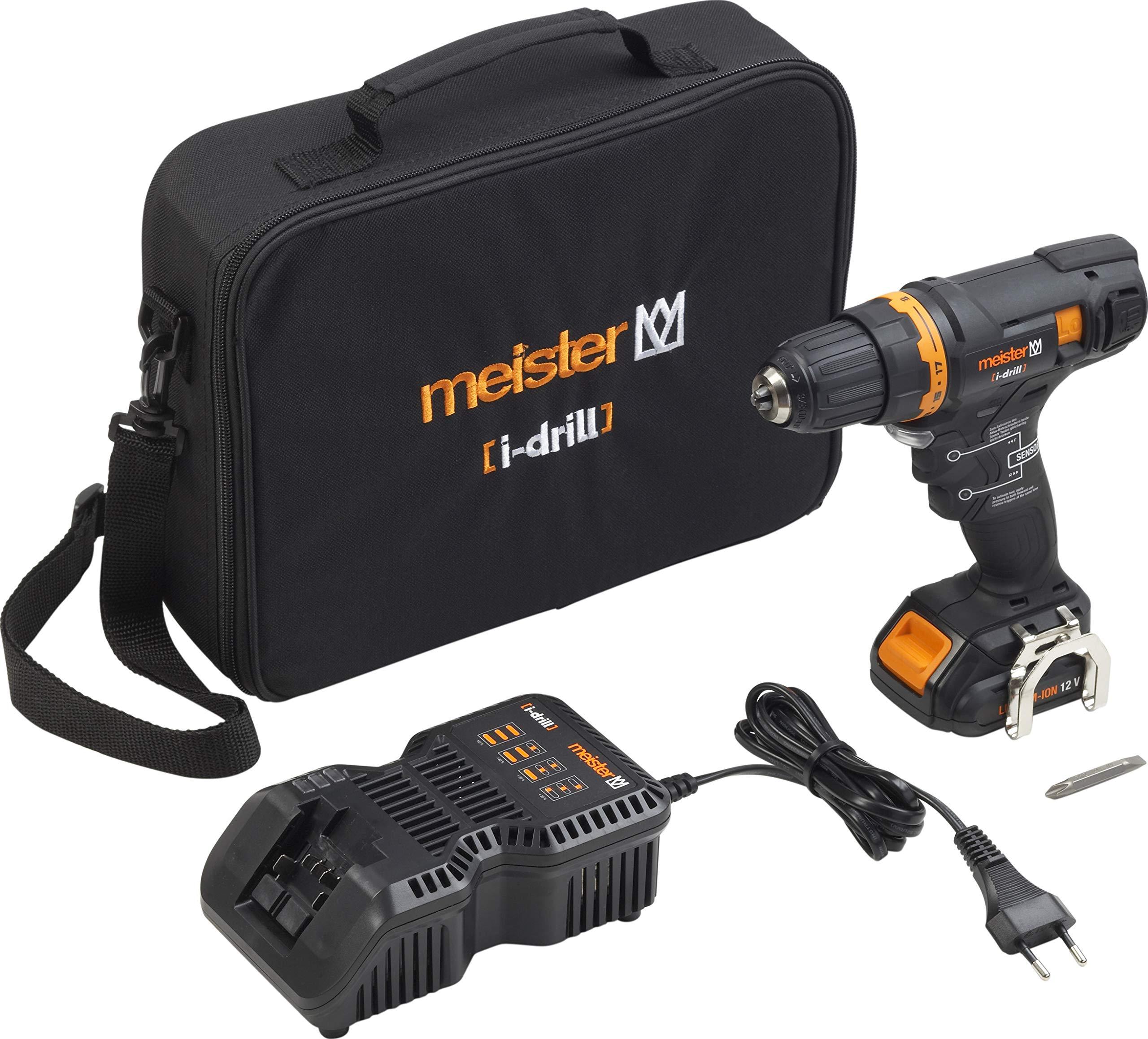 Meister-Akkubohrschrauber-i-drill-Sensor-12-V-20-Ah-Akku-2-Gang-Getriebe-Schnellspannbohrfutter-30-Nm-Drehmoment-Akkuschrauber-mit-Arbeitsleuchte-Bohrschrauber-in-Textiltasche-5450560