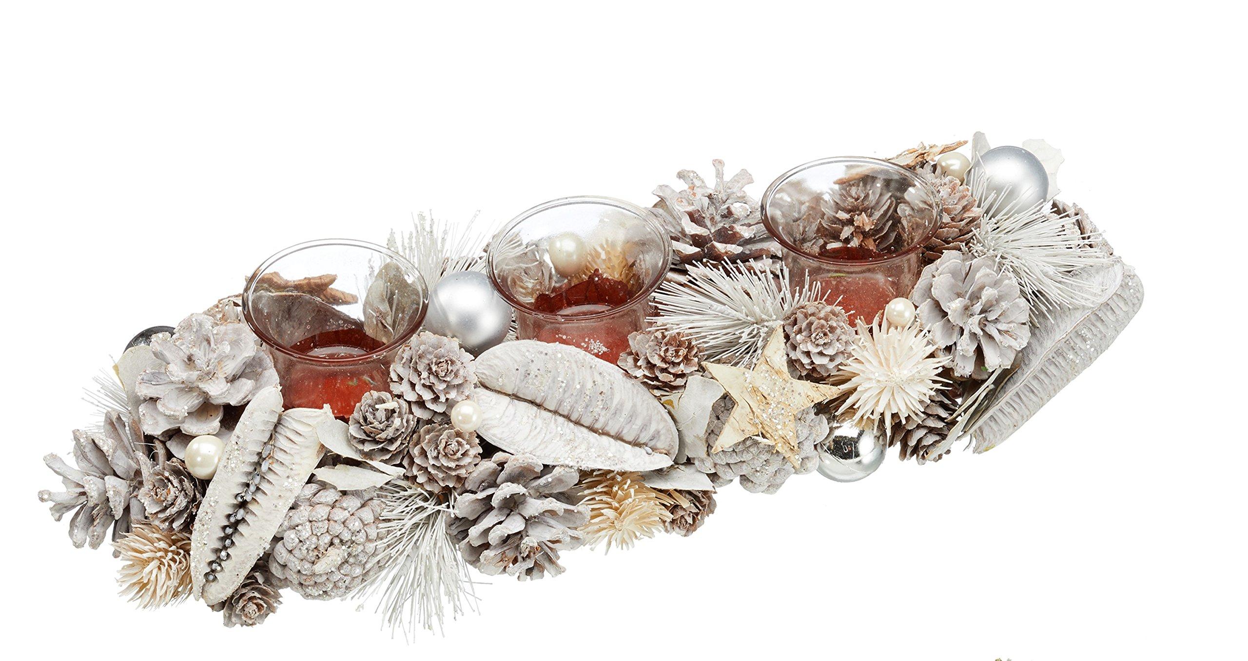 TFH-Teelichthalter-Gesteck-Zapfen-wei-Sterne-Tischkranz-Tischgesteck-Glitzer-Kerzenhalter-Holz-Natur-Kranz-Weihnachten-Weihnachtsdeko-Weihnachtskranz