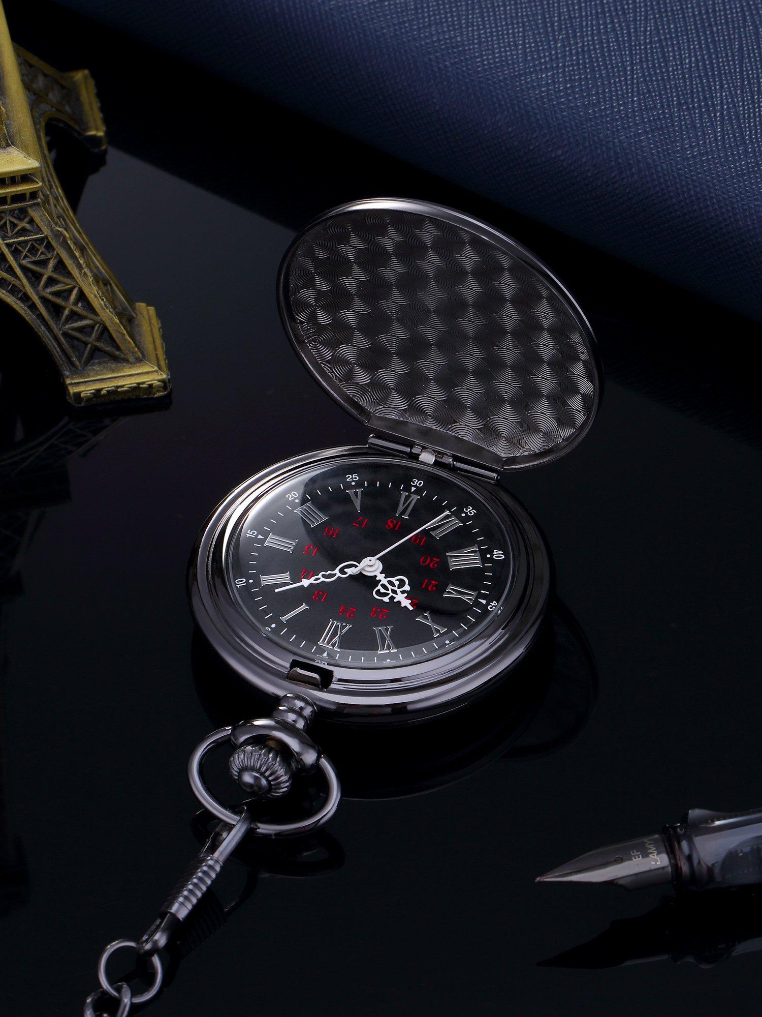 Glatte-Antike-Quarz-Taschenuhr-mit-Schwarzer-Stahlkette