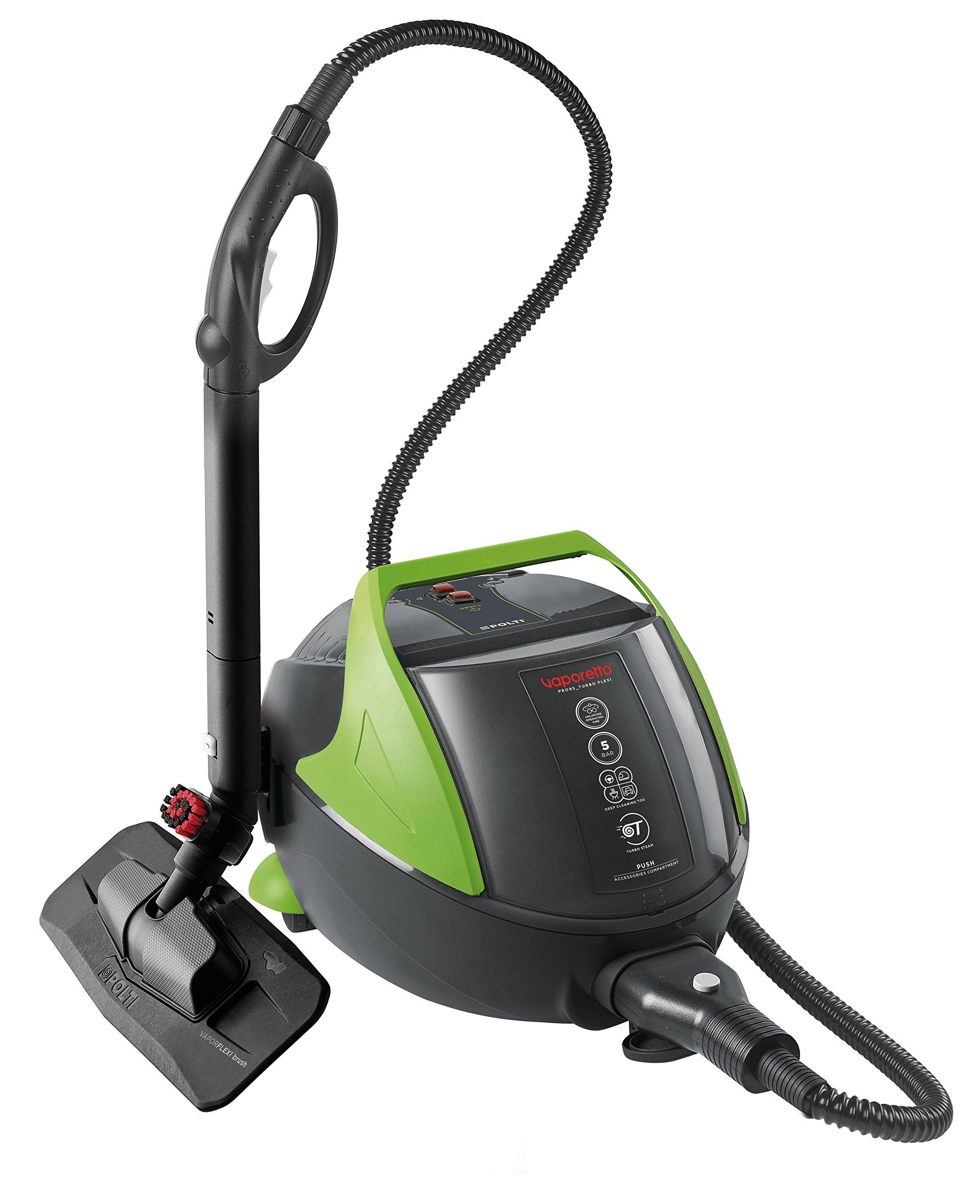 Vaporetto-PRO-95-Flexi-Dampfreinigungsgert-mit-5-BAR-stndig-nachfllbar-Wassertankkapazitt-13-L-und-Turbo-Funktion-1100-Watt-regulierbarer-Dampf-13-liters-Schwarzgrn