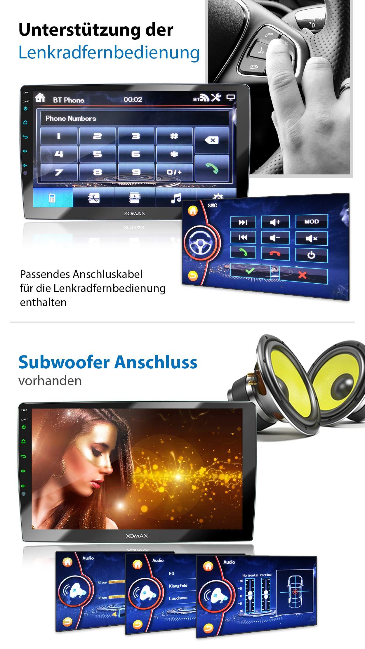 XOMAX-XM-2VN1003-Autoradio-mit-verstellbarem-XXL-Touchscreen-Bildschirm-1025-cm-I-Mirrorlink-I-GPS-Navigation-I-Bluetooth-I-Anschlsse-fr-externes-Mikrofon-und-Rckfahrkamera-I-RDS-I-USB-I-2-DIN
