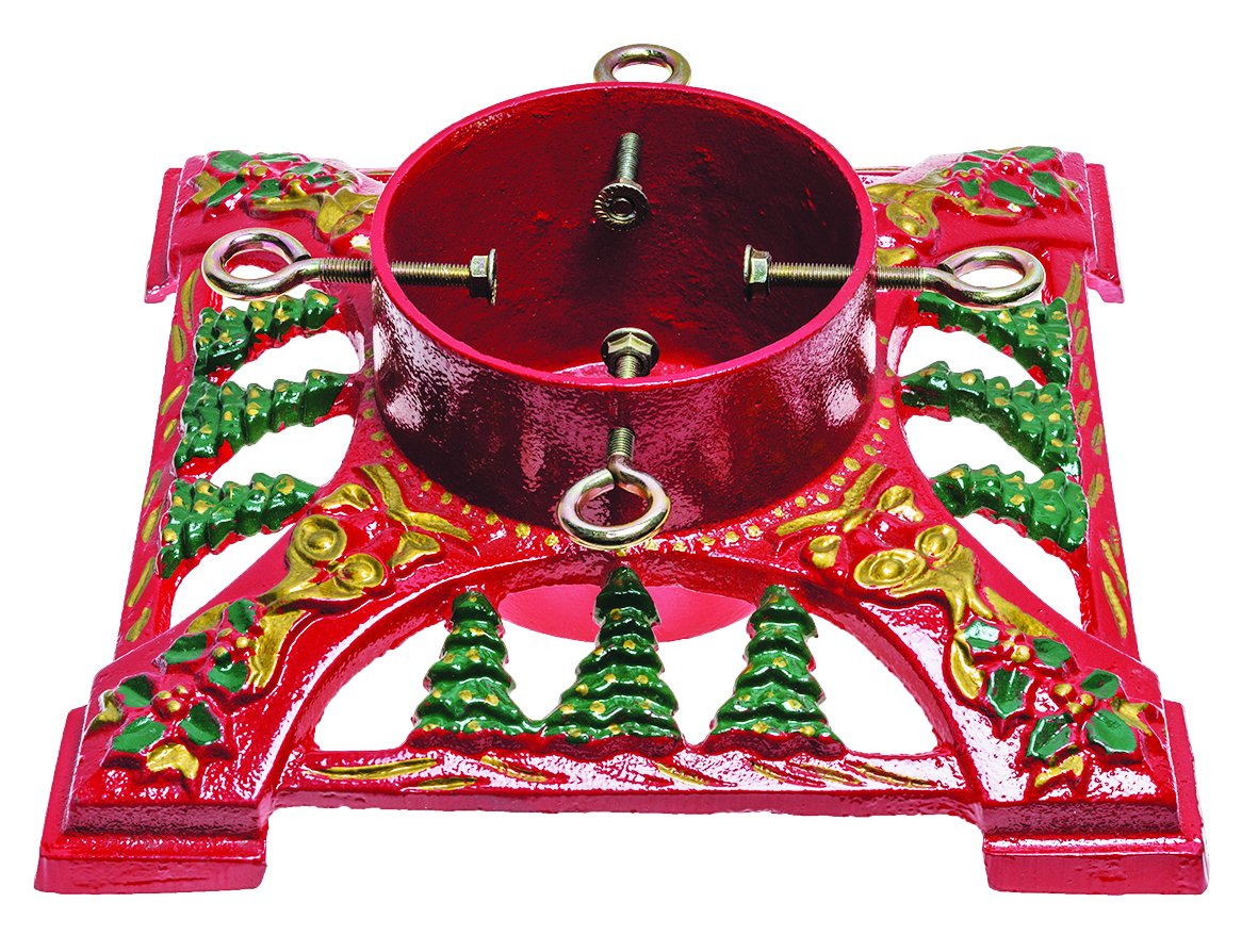 Gusseisen-356-cm-Schleifen-und-Glocken-Weihnachtsbaum-Stnder-Rot
