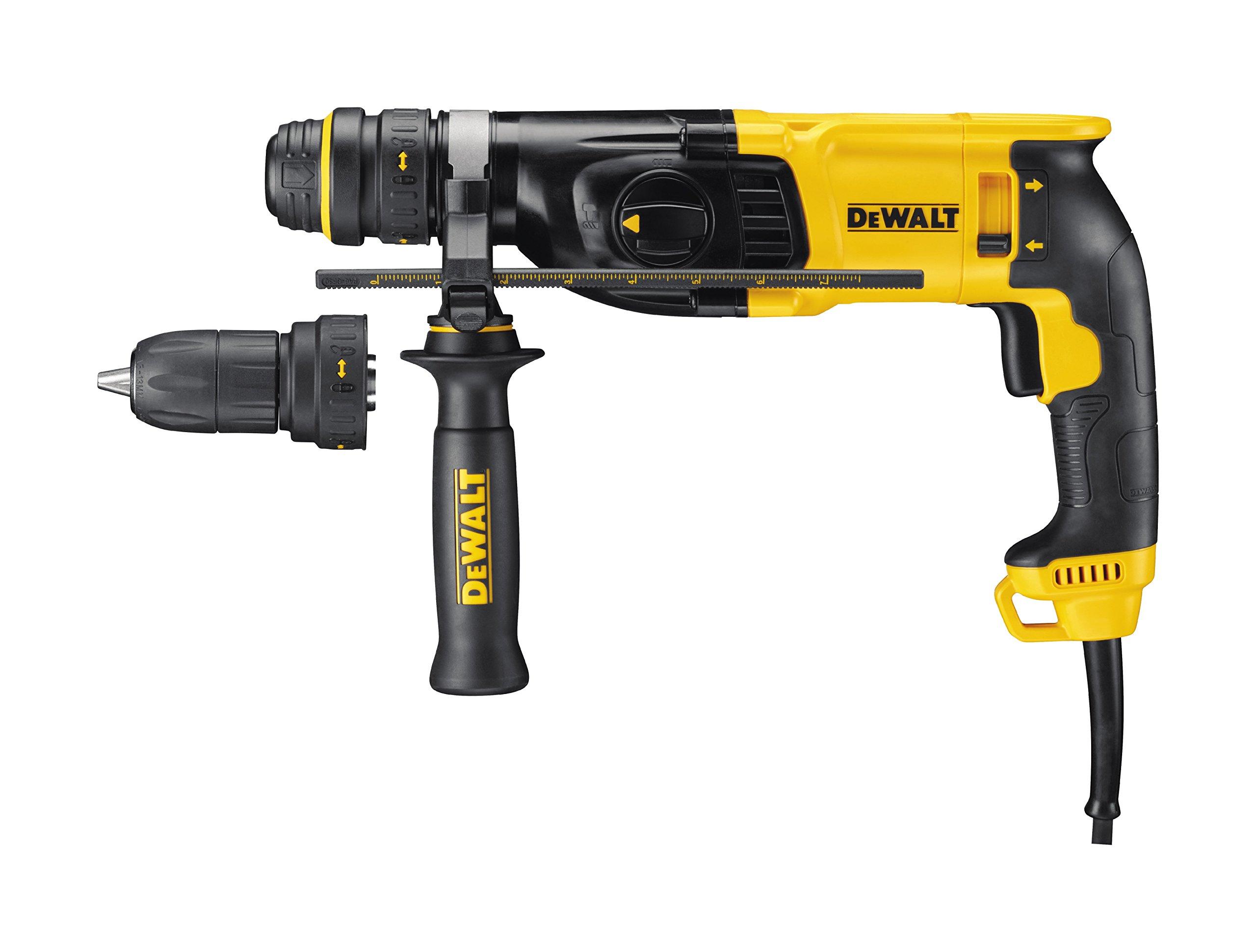 DeWalt-SDS-plus-Kombibohrhammer-Schlagbohrmaschine-800-Watt-max-Bohrleistung-Beton-26-mm-Schnellwechsel-Bohrfutter-Drehstopp-fr-Meielarbeiten-Sicherheitskupplung-inkl-Tstak-Box-D25134K