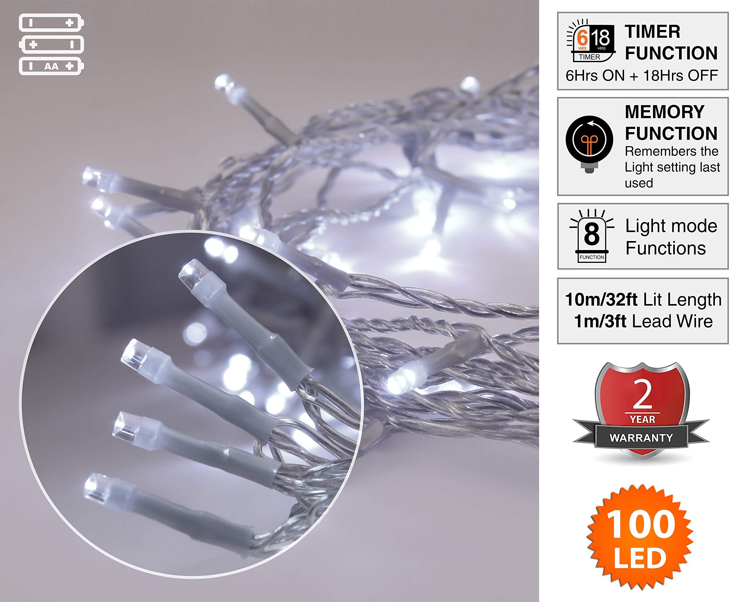 Lichterkette-Weihnachtsbeleuchtung100-LED-leuchtend-weien-Innen-und-Auen-8-Modi-mit-Memory-Timer-Funktion-batteriebetrieben-10m-33ft-Lit-Lnge-mit-1m-33ft-Lead-Wire-Clear-Kabel