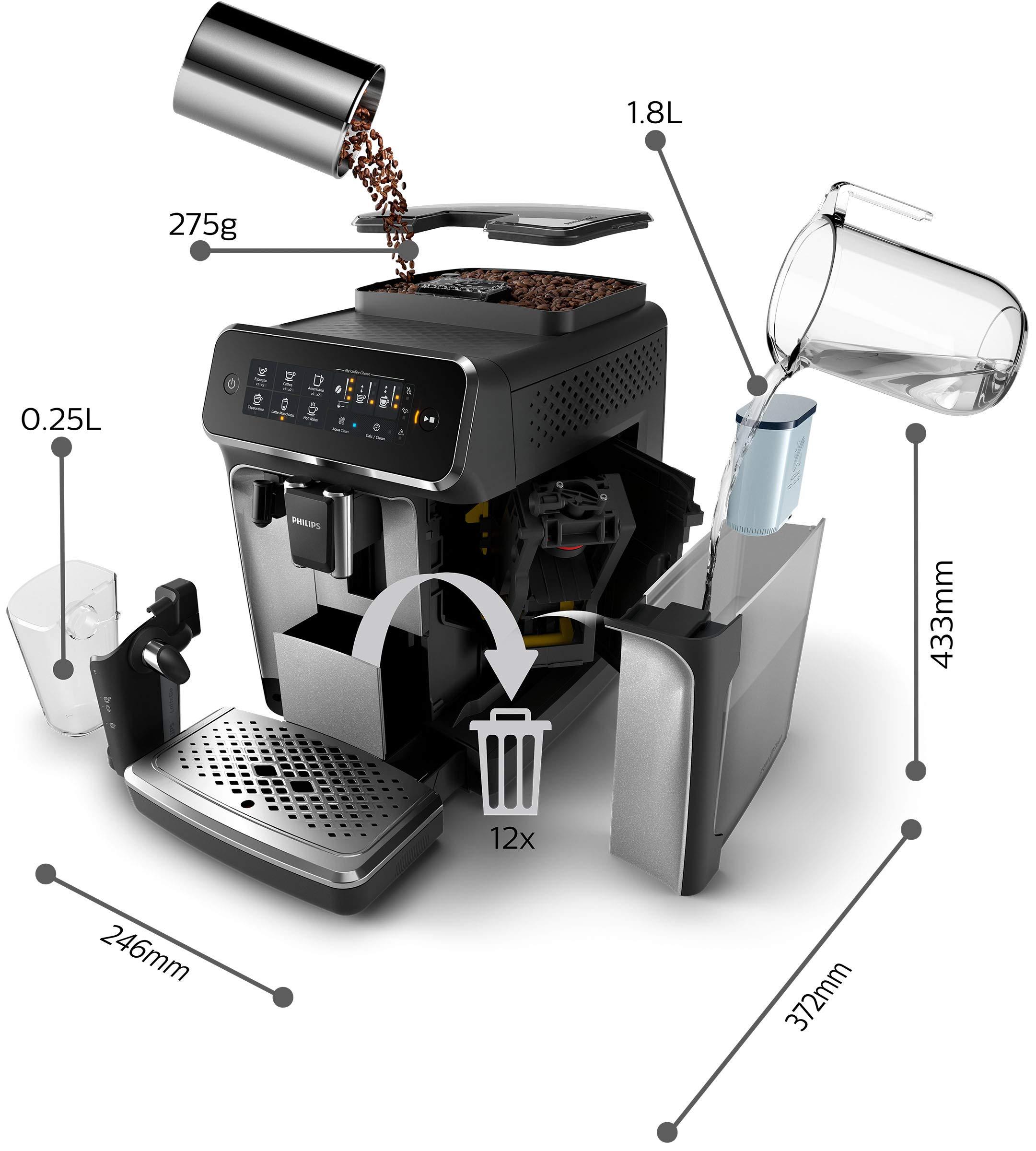 Philips-3200-Serie-EP324670-Kaffeevollautomat-LatteGo-Milchsystem-schwarzsilber-lackiert