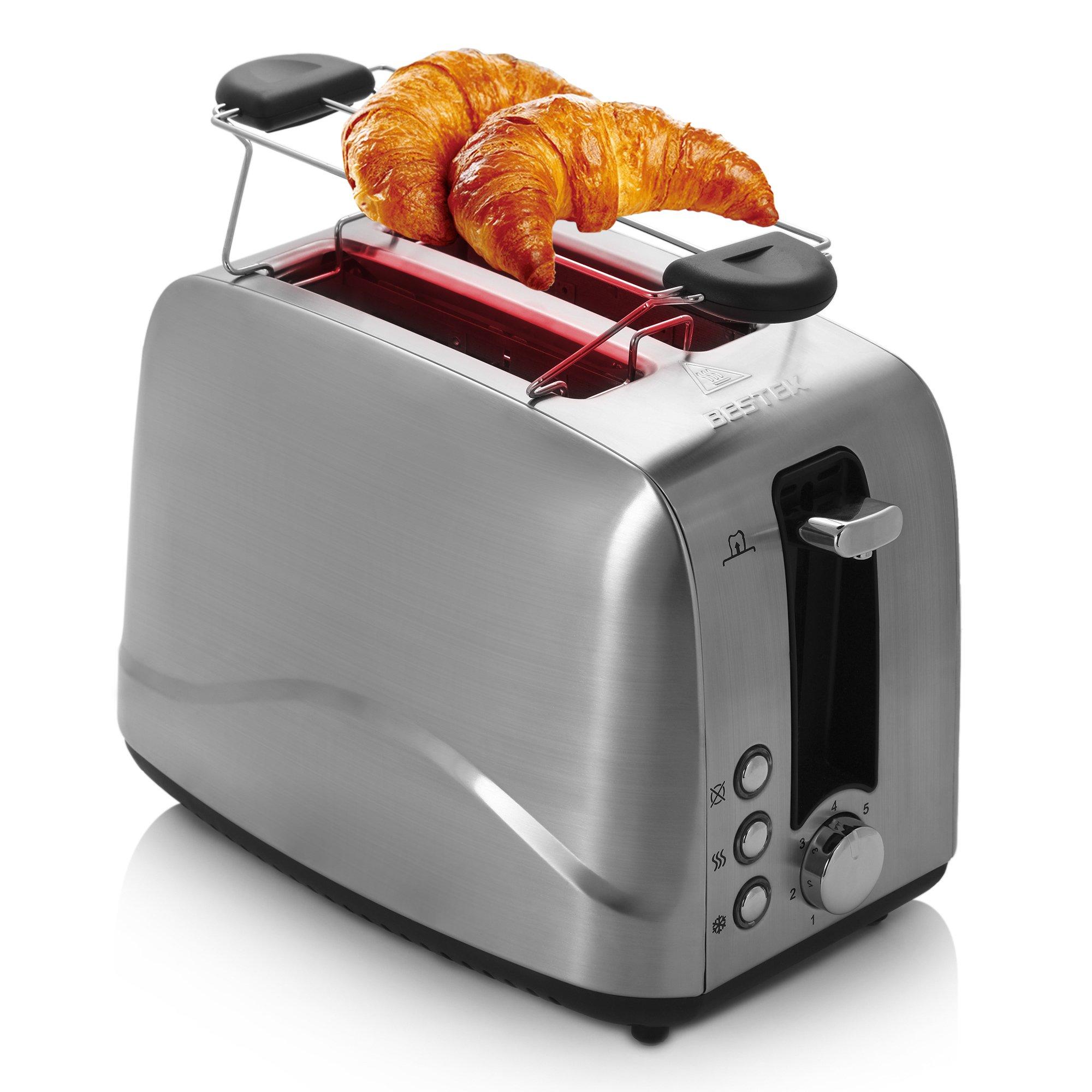BESTEK-Edelstahl-Toaster-mit-Brtchenaufsatz-7-Brunungsstufen-und-2-Brotscheiben-850-W