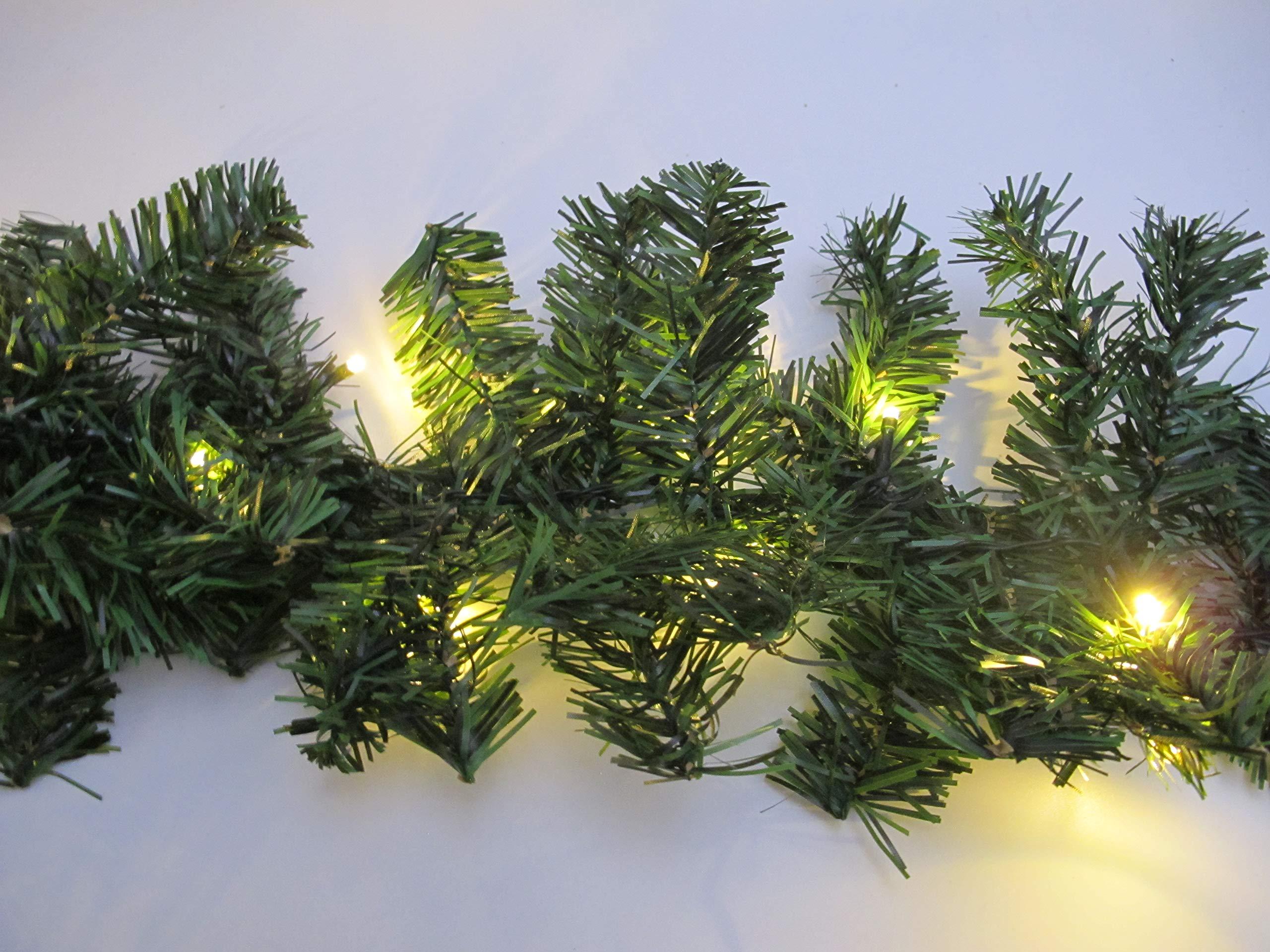 Tannengirlande-5-Meter-mit-80-warm-weien-LED-strombetrieben-inkl-10-Meter-Zuleitung-fr-Innen-Auen-geeignet-knstliche-Girlande-mit-Beleuchtung