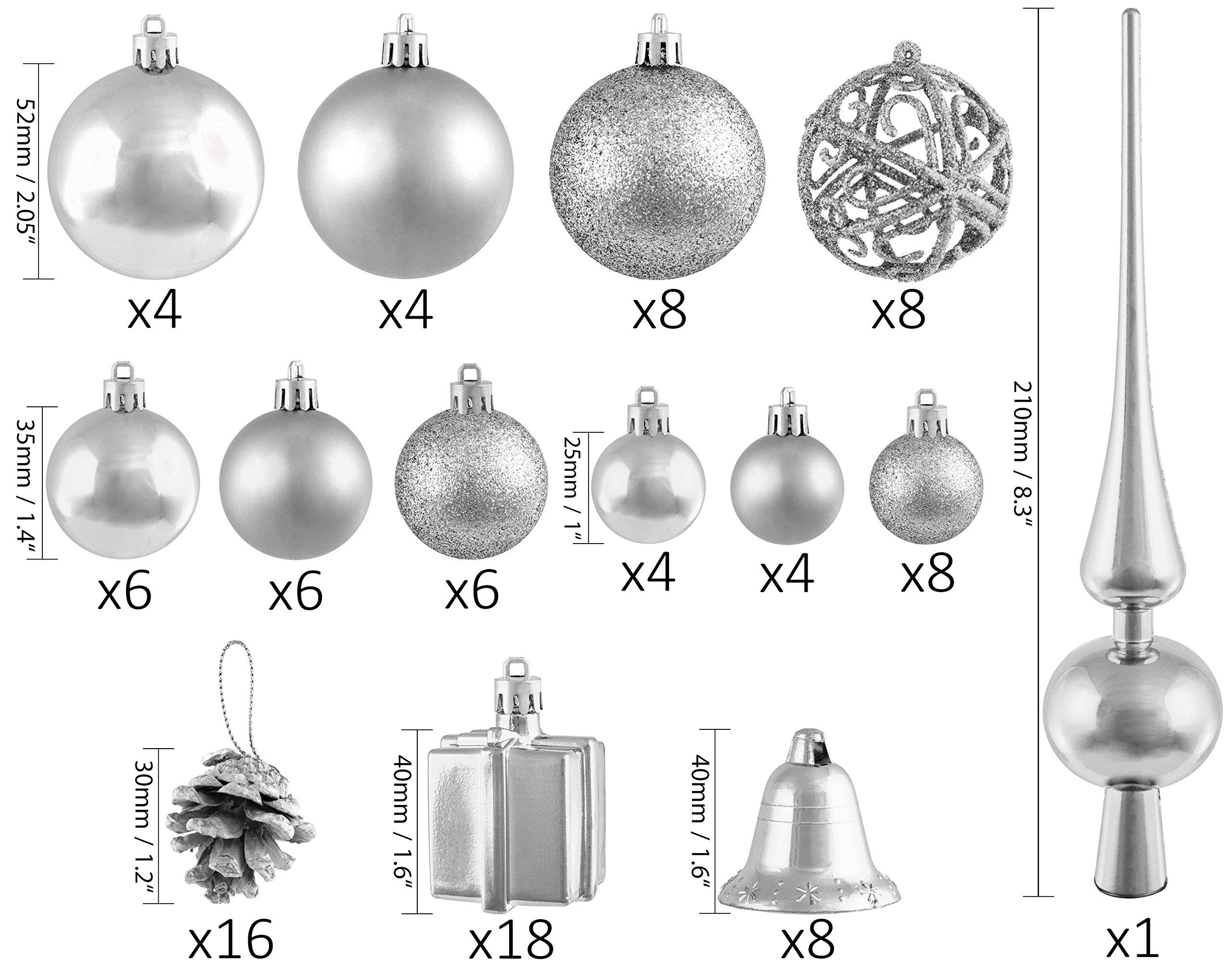 Brubaker-Christbaumkugel-Set-mit-Tannenzapfen-Weihnachtsglocken-Geschenken-Christbaumspitze-Christbaumschmuck-101-Teile-Silber