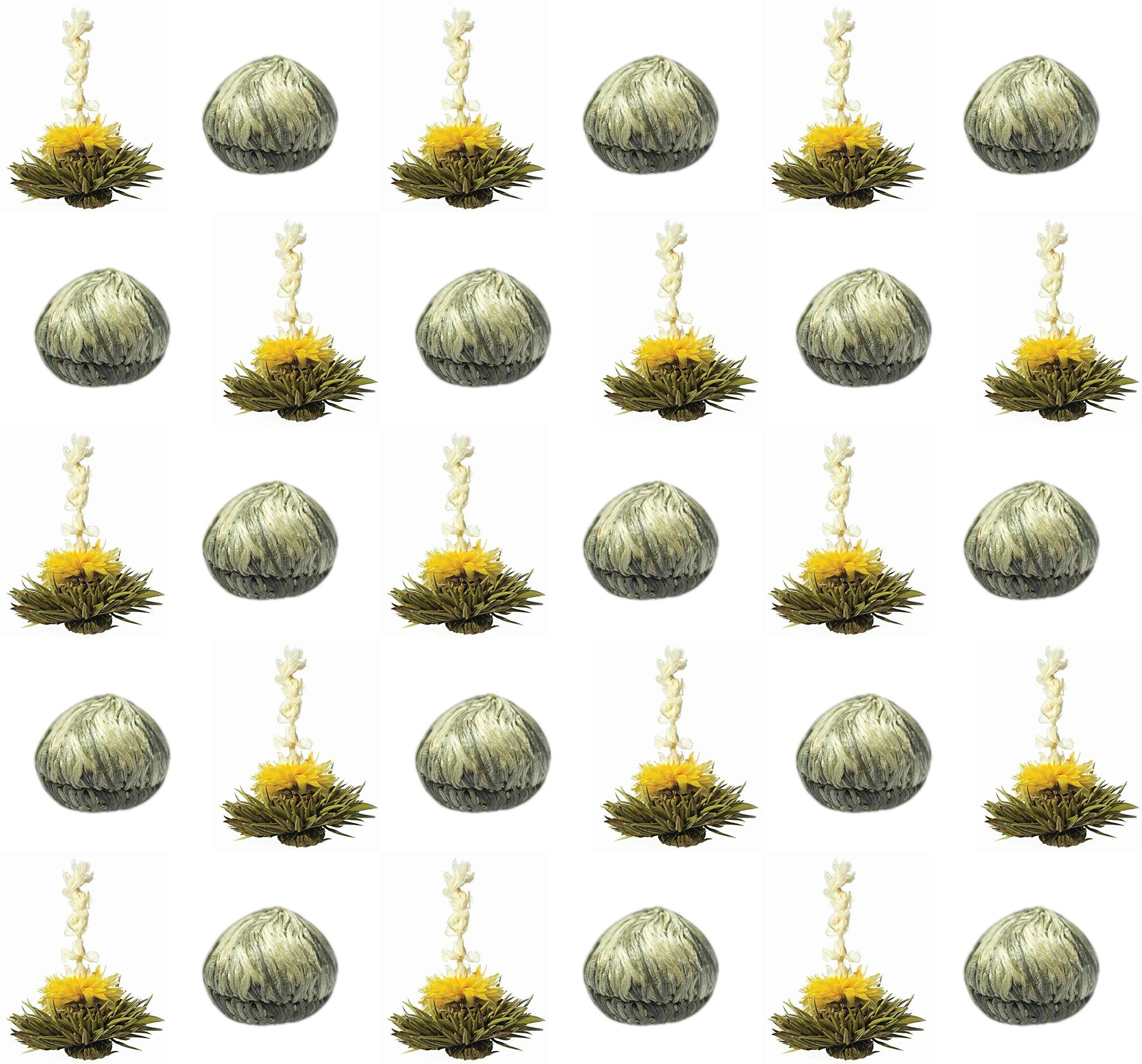 30-Stck-Sonderangebot-TRIPLE-weier-Tee-Teeblumen-3-Sorten-mit-natrlichem-Litschi-Mango-PfirsicharomaTeerosenTeebltenblooming-teaErblhteeAufblhtee-aus-hochwertigem-Weitee-by-Feelino