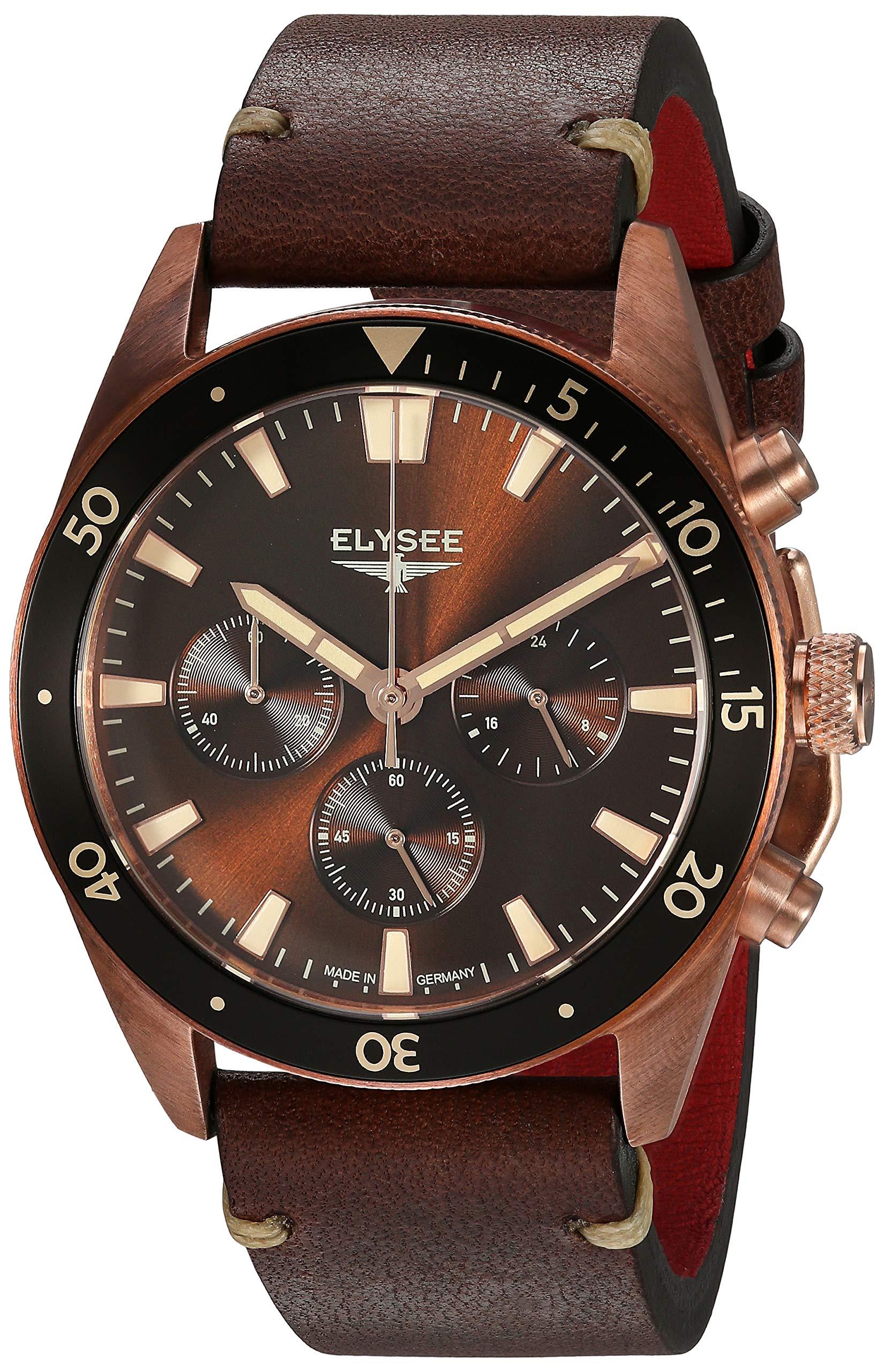 Elysee-Bronze-Herren-Armbanduhr-Sonnenschliff