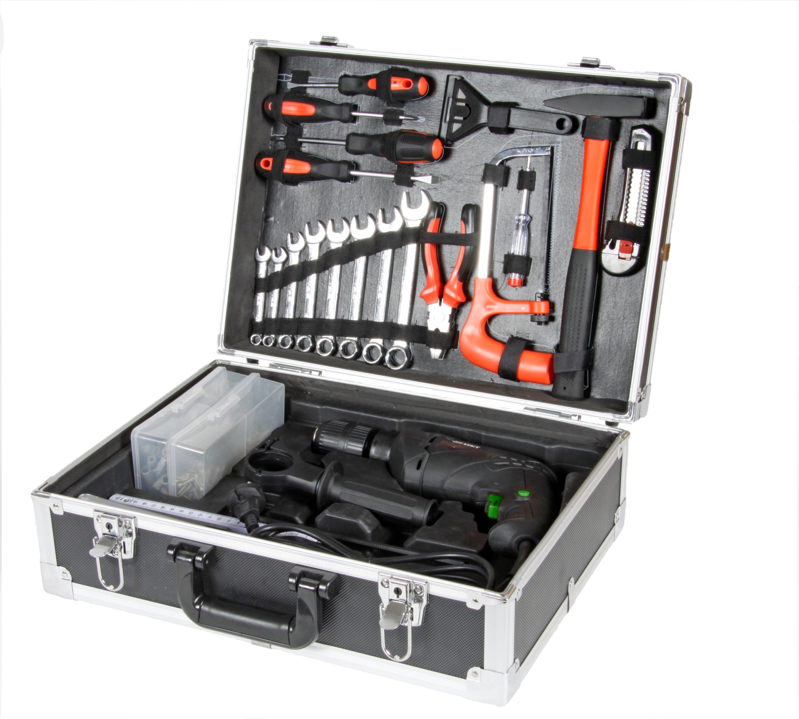 bavaria-BID-6501-Kit-Schlagbohrmaschinen-Set-600-W-Bohrleistung-HolzBetonMetall-251310-mm-inkl-umfangreiches-Zubehr-im-Alukoffer