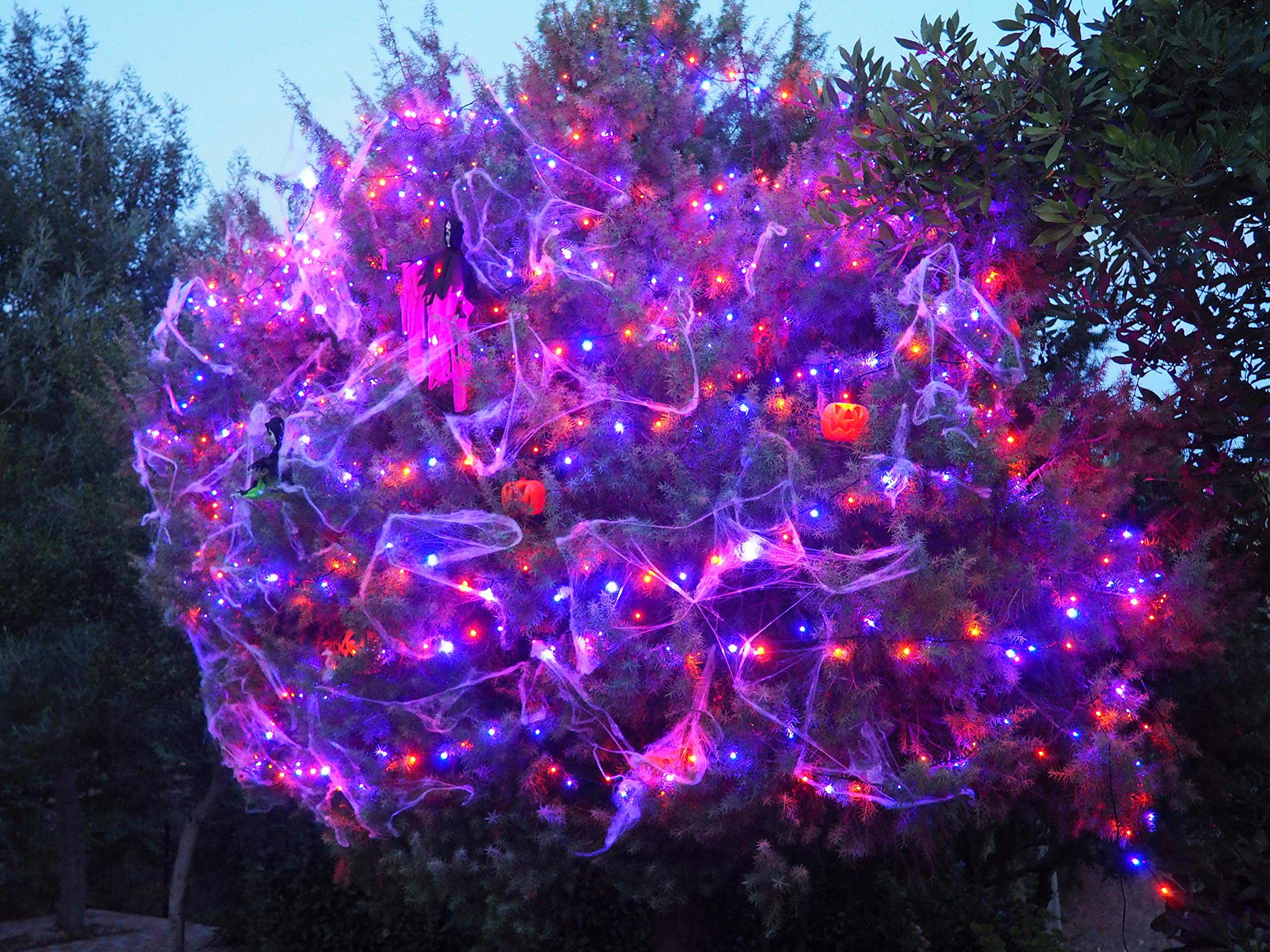 Lichterkette-fr-drinnen-und-drauen-120-LEDs-Orange-und-Violett