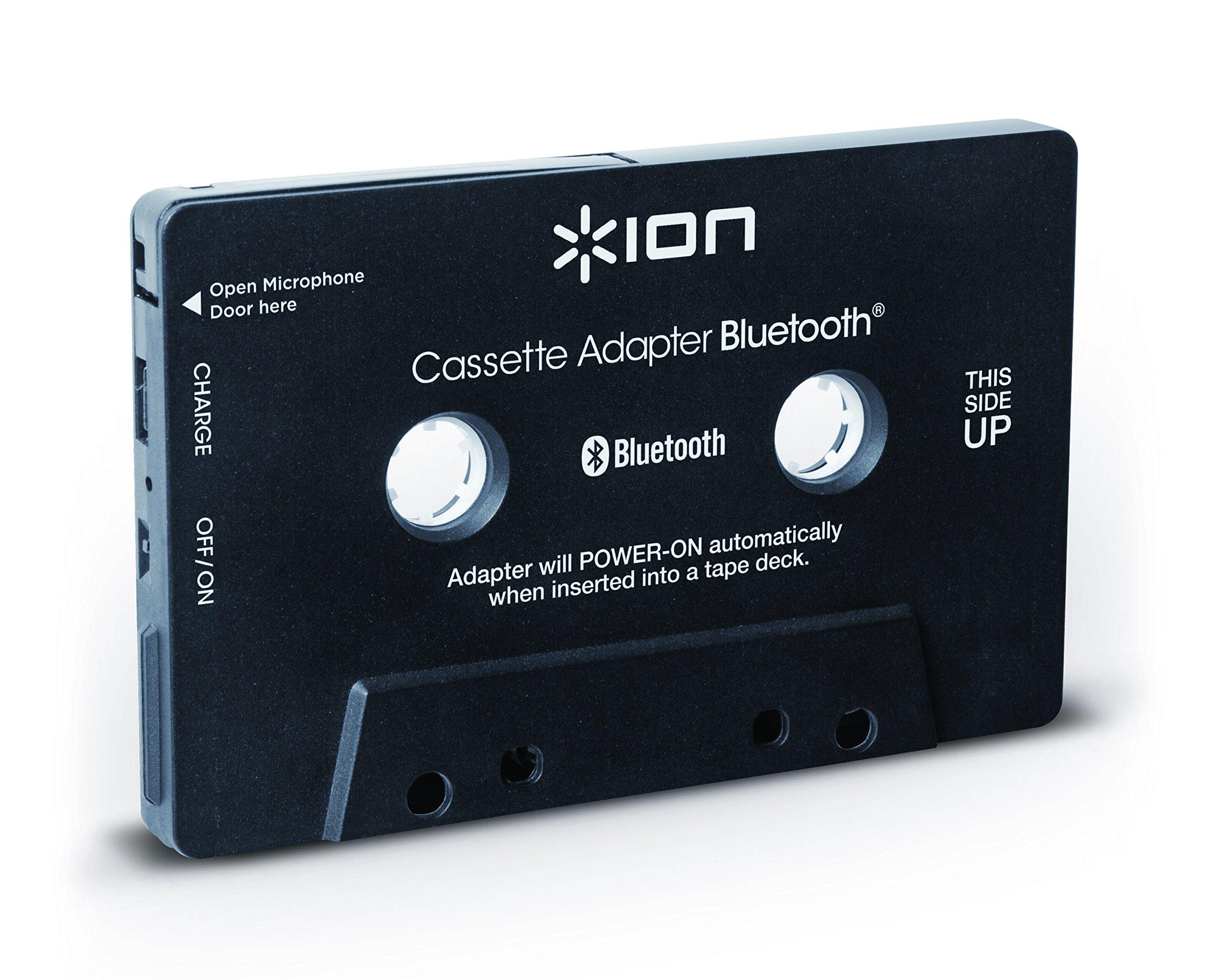 ION-Audio-Cassette-Adapter-Bluetooth-Kassettenadapter-mit-Bluetooth-Musik-Empfnger-fr-Kassettendecks-mit-eingebautem-Mikrofon-fr-den-Einsatz-als-Freisprechanlage-Schwarz