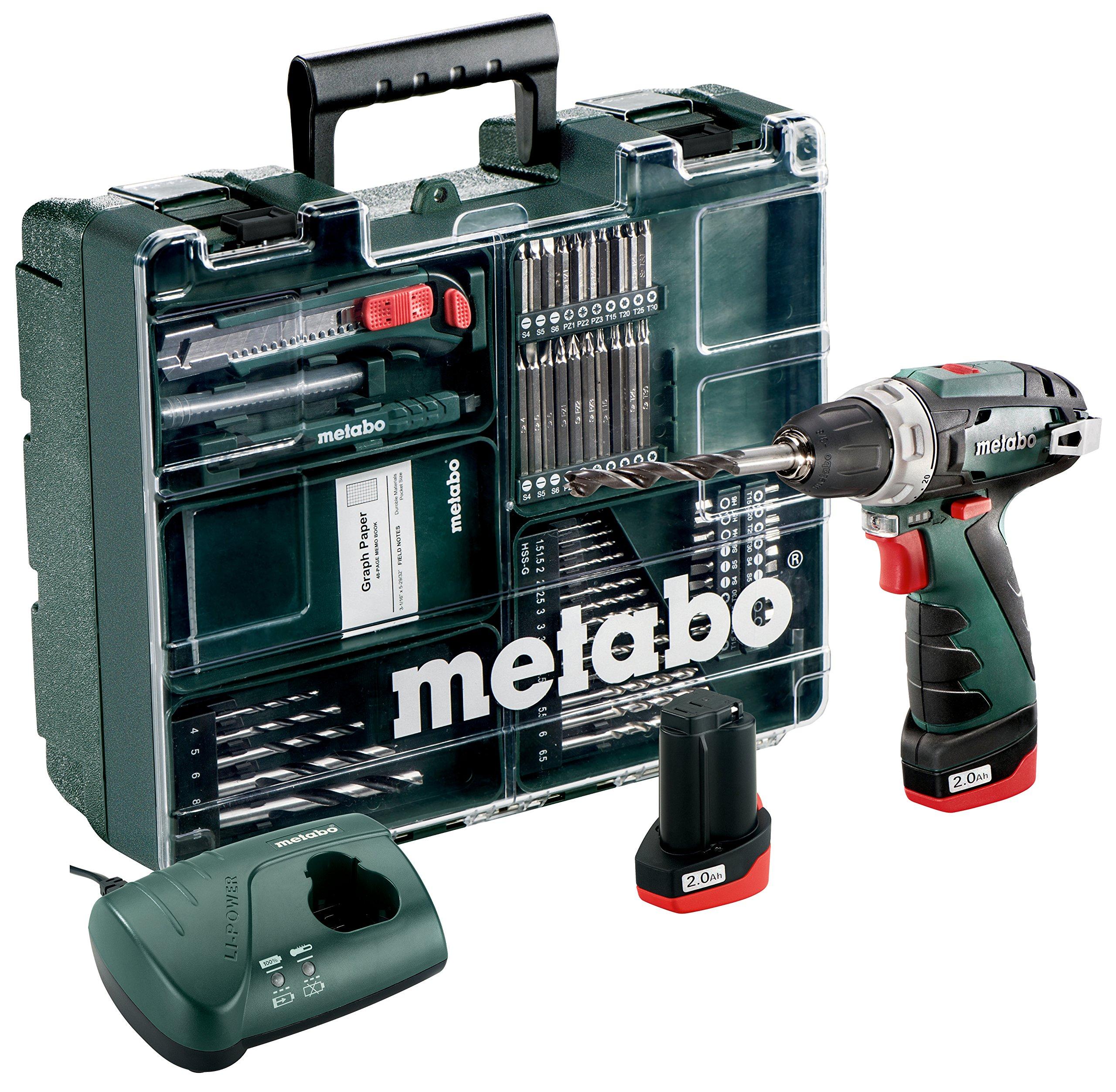 Metabo-600080880-108-Volt-Akku-Bohrschrauber-PowerMaxx-BS-Basic-Mobile-Werkstatt-64-teiliges-Zubehr-Set-108-V-grn-grau-schwarz-rot