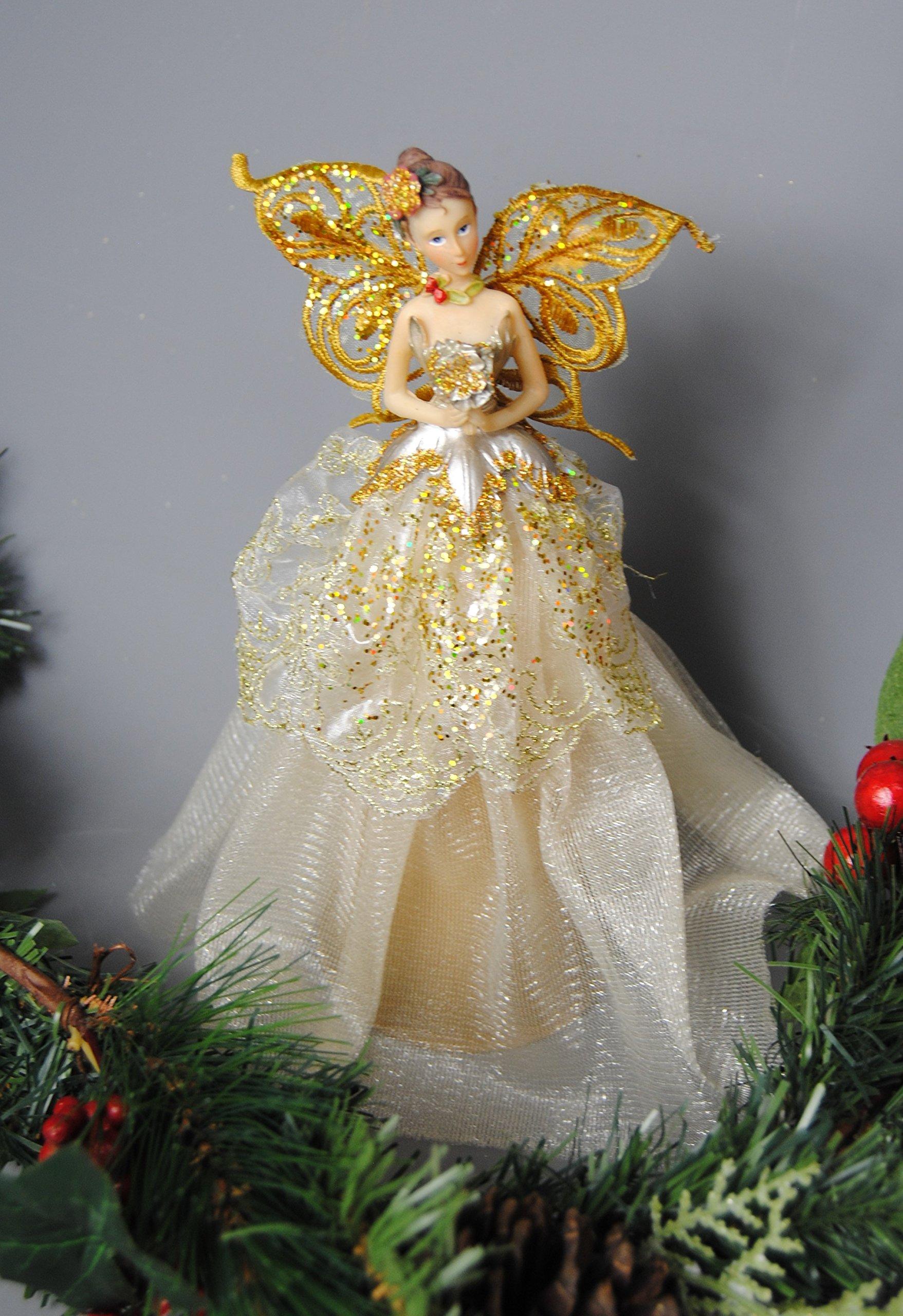 Festive-Christbaumspitze-Fee-Engel-gold-glitzer-Kleid-und-Spitzen-Flgeln