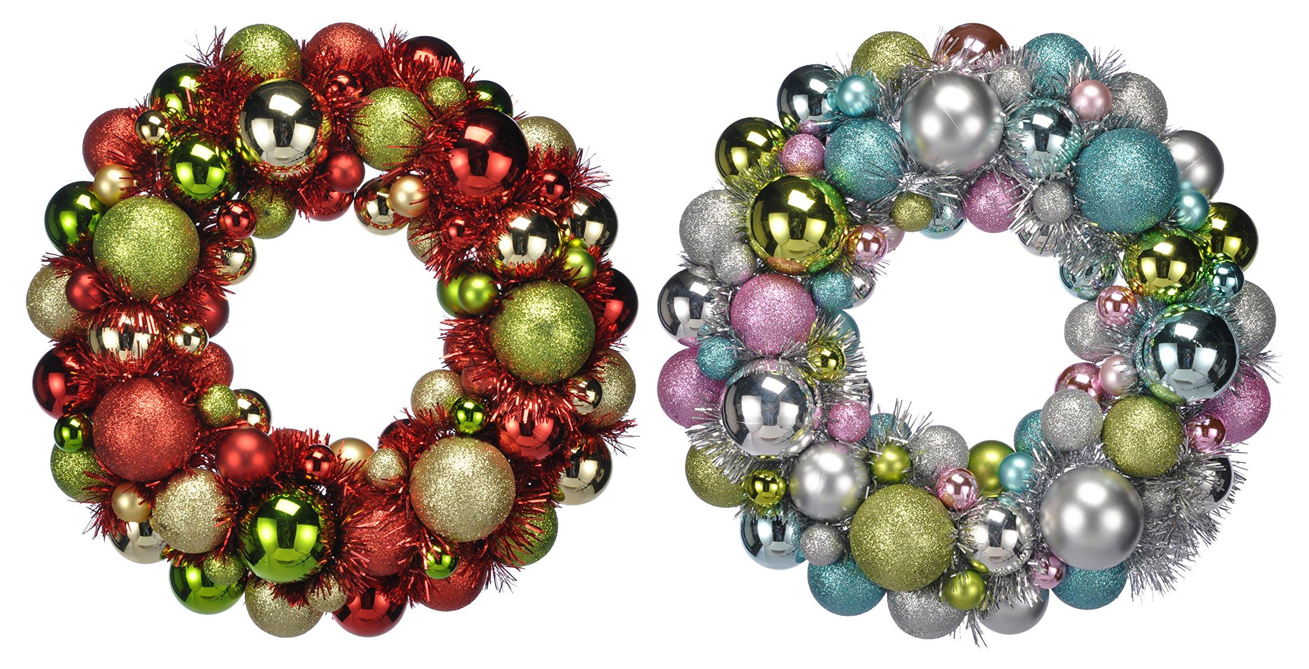 Meinposten-Kugelkranz-Trkranz-30cm-bunt-Gold-Silber-Christbaumkugeln-Kranz-Weihnachtskranz