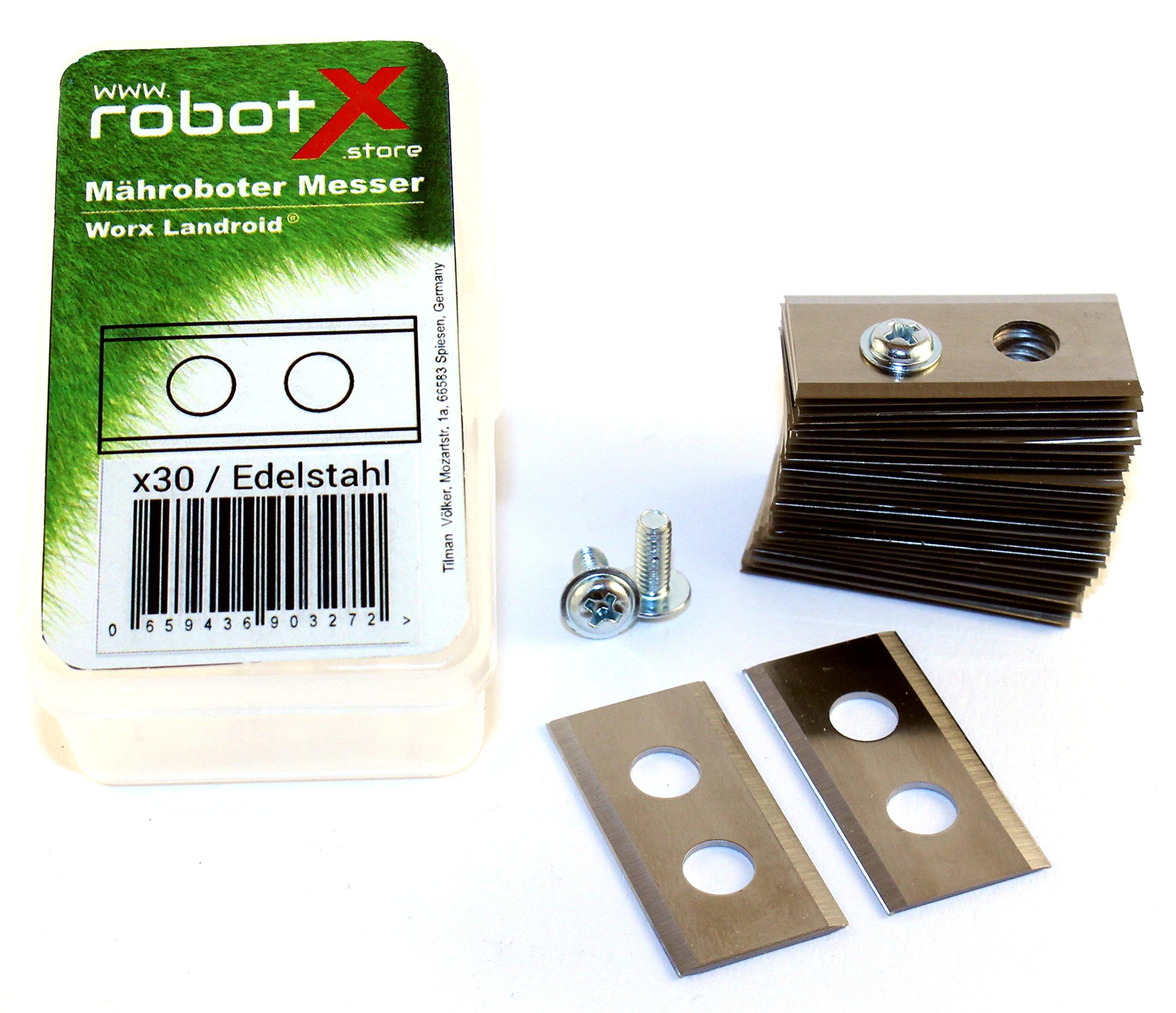 30-Mhroboter-Messer-fr-Worx-Landroid-Edelstahl-in-sehr-guter-Qualitt-30-Stck-WORX-Landroid-Gnstige-Ersatzmesser-und-schrauben-der-Marke-robotX