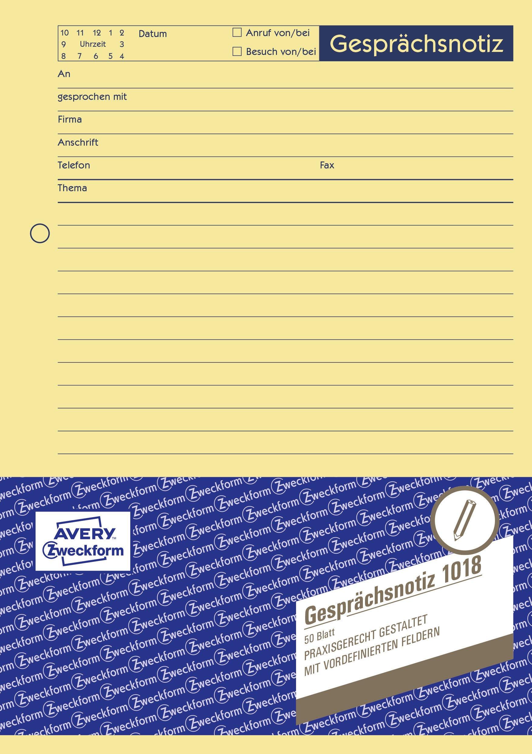 AVERY-Zweckform-1018-Gesprchsnotiz-A5-Abreiblock-oben-verleimt-50-Blatt-gelb