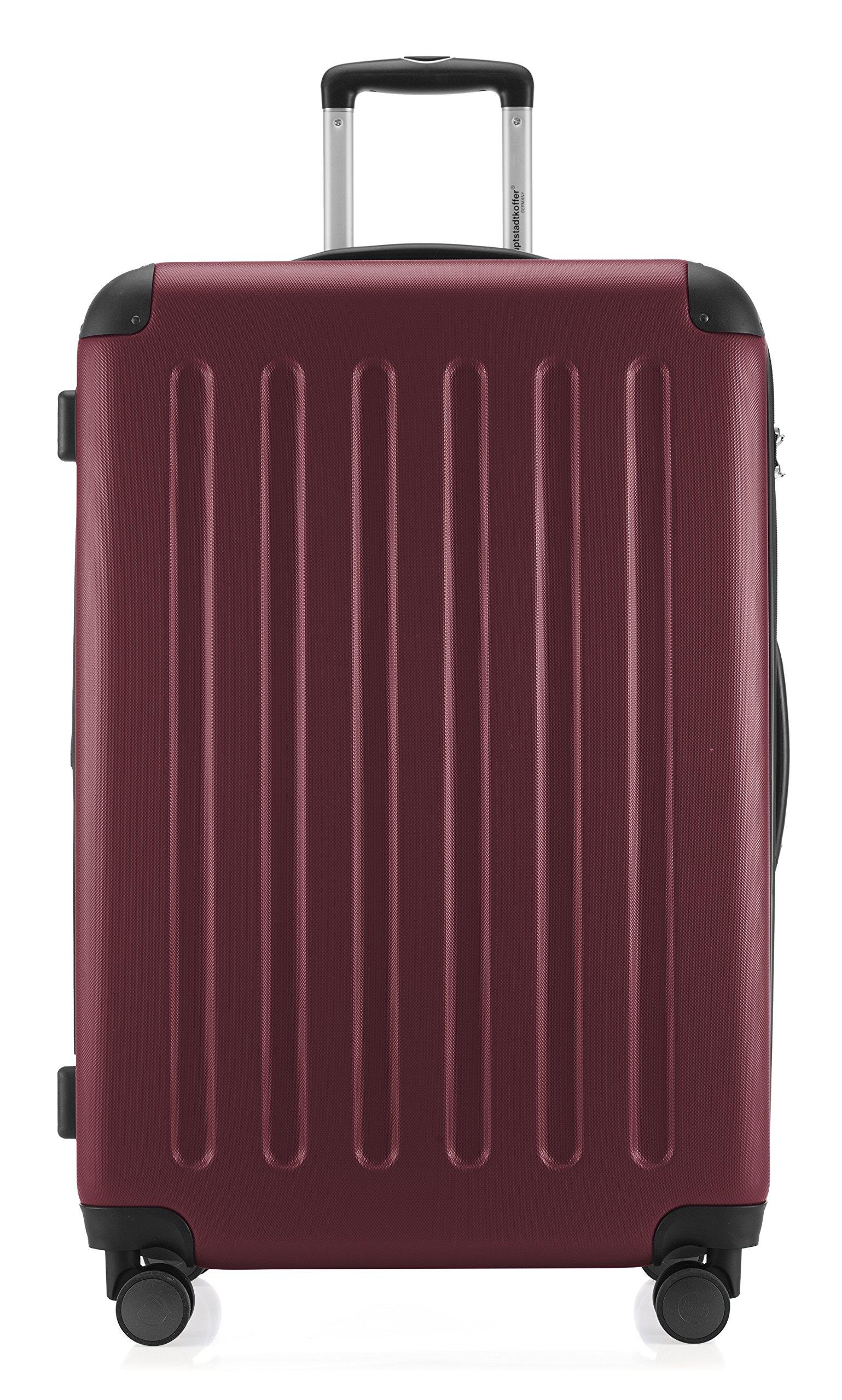 HAUPTSTADTKOFFER-Spree-Hartschalen-Koffer-Koffer-Trolley-Rollkoffer-Reisekoffer-Erweiterbar-4-Rollen-TSA-75-cm-119-Liter-Burgund