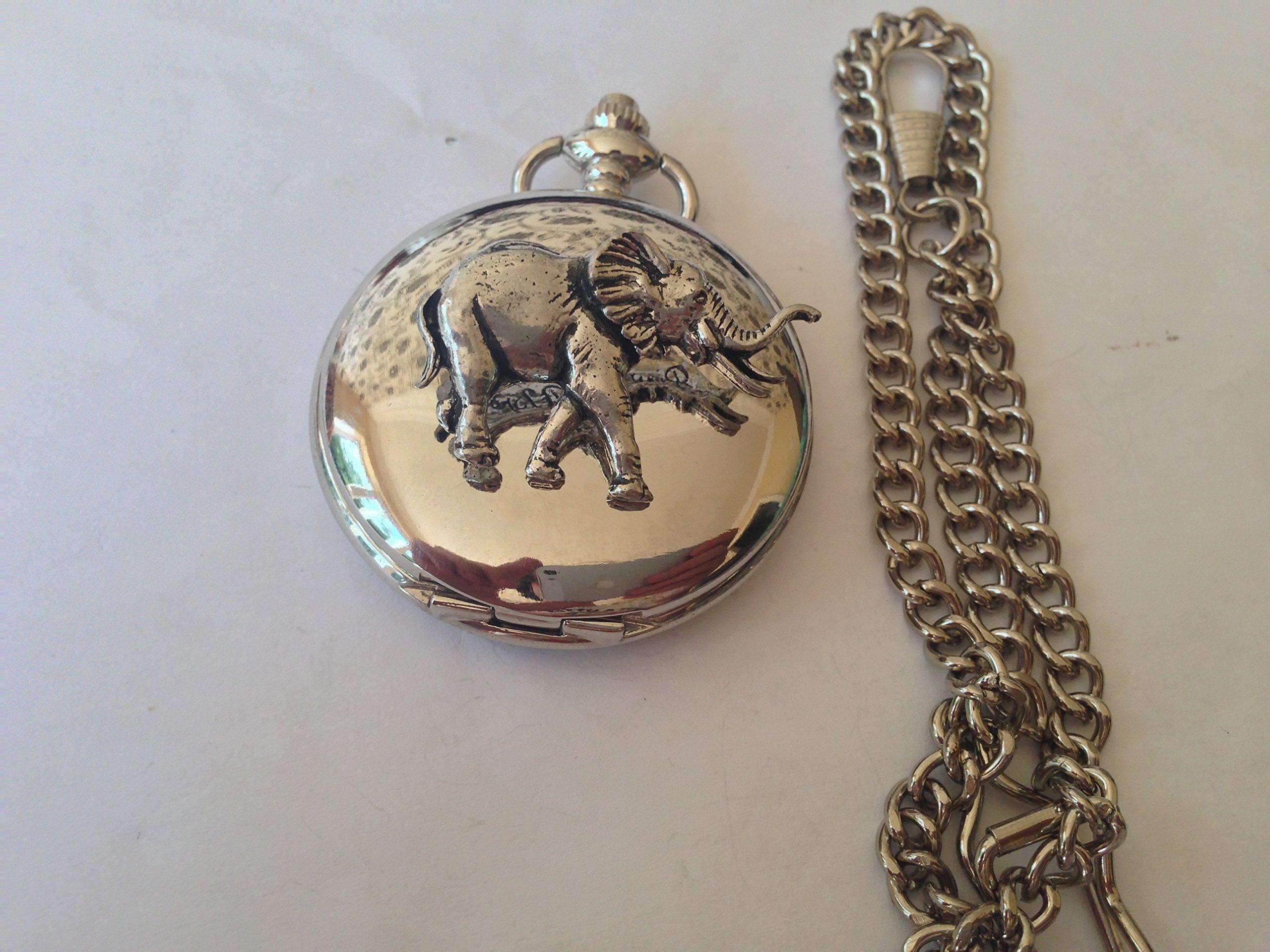 A20-Elefant-silber-poliert-Fall-Herren-Geschenk-Quarz-Taschenuhr-hergestellt-in-Sheffield
