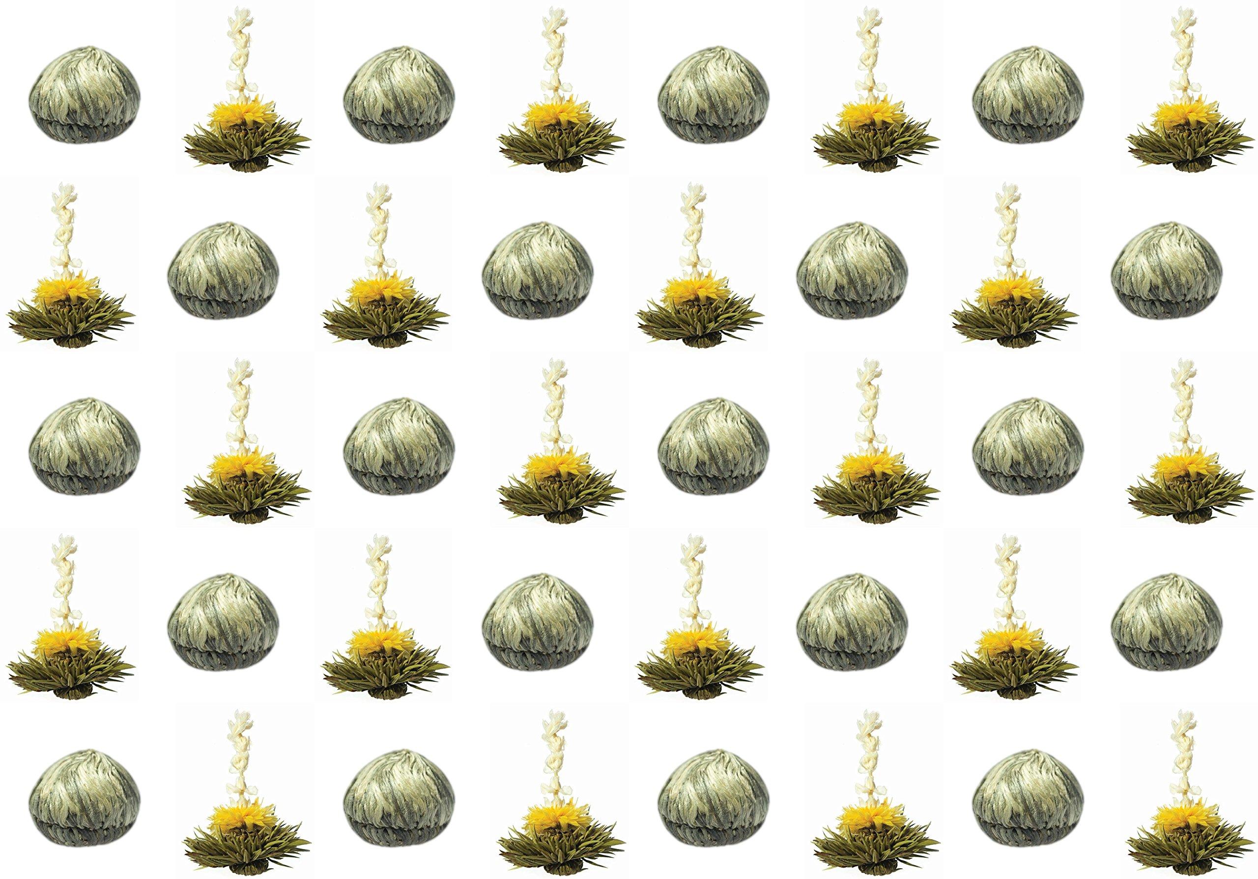 40-Stck-Restposten-Sonderangebot-weier-BIO-Tee-Teeblumen-1-Sorte-Teerosen-Teeblten-blooming-tea-Erblhtee-Aufblhtee-aus-hochwertigem-BIO-Weitee-by-Feelino