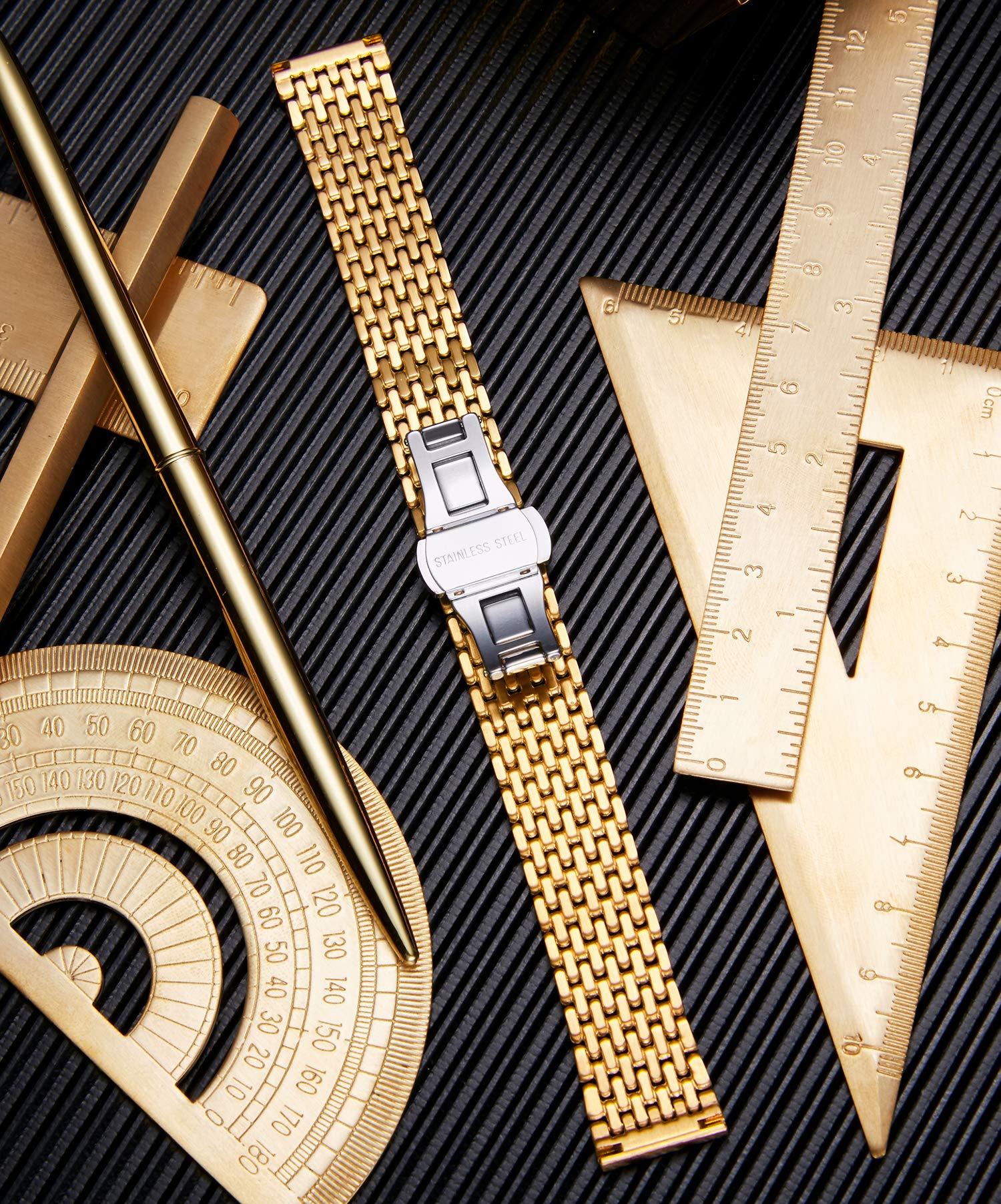BINLUN-Thin-Mesh-Edelstahl-Uhrenarmbnder-Light-Ersatz-Uhrenarmband-Poliertes-Armband-fr-Herren-Damenuhr-12mm-14mm-16mm-18mm-20mm-22mm-mit-Butterfly-Schnalle