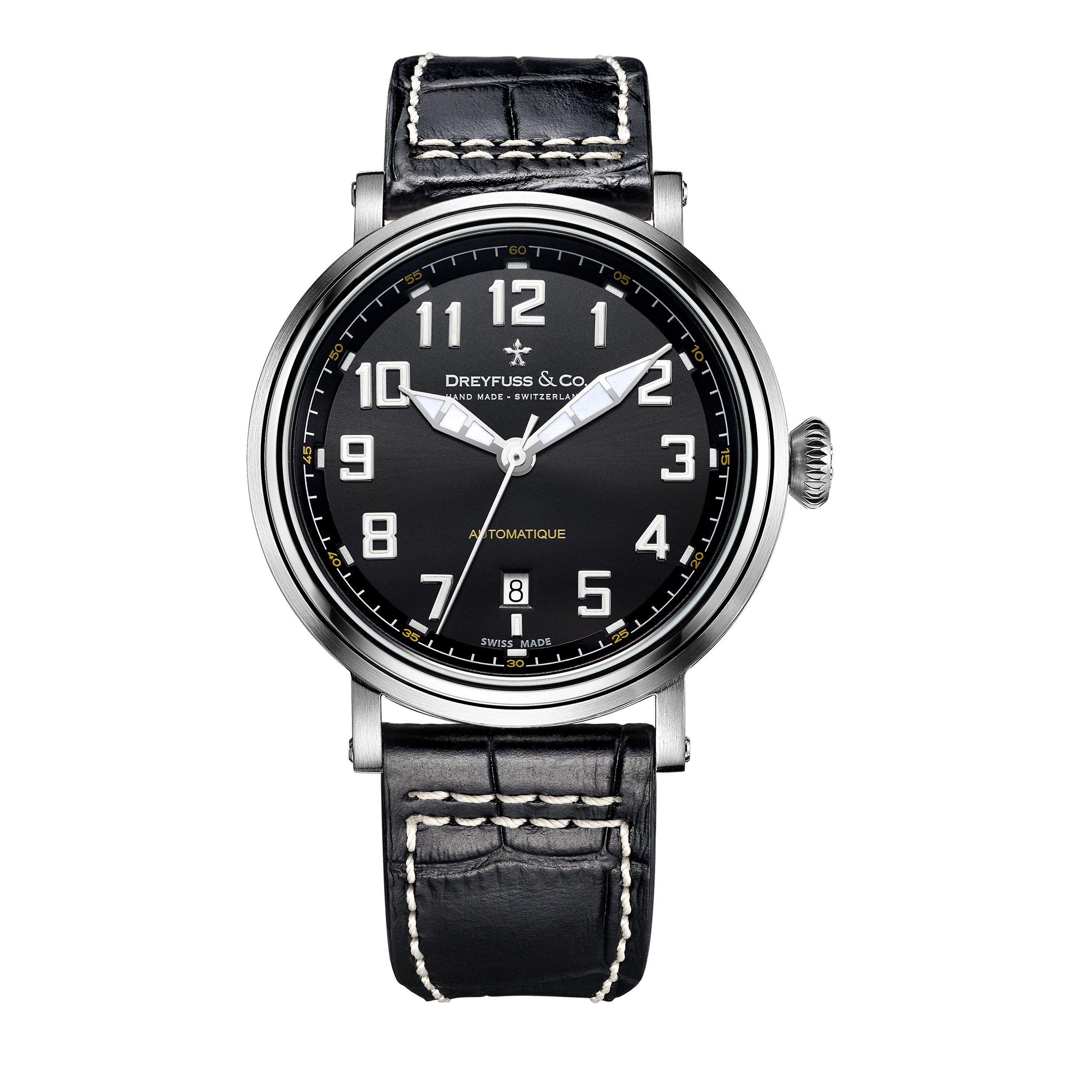 Dreyfuss-Herren-Datum-klassisch-Automatik-Uhr-mit-Leder-Armband-DGS0015319