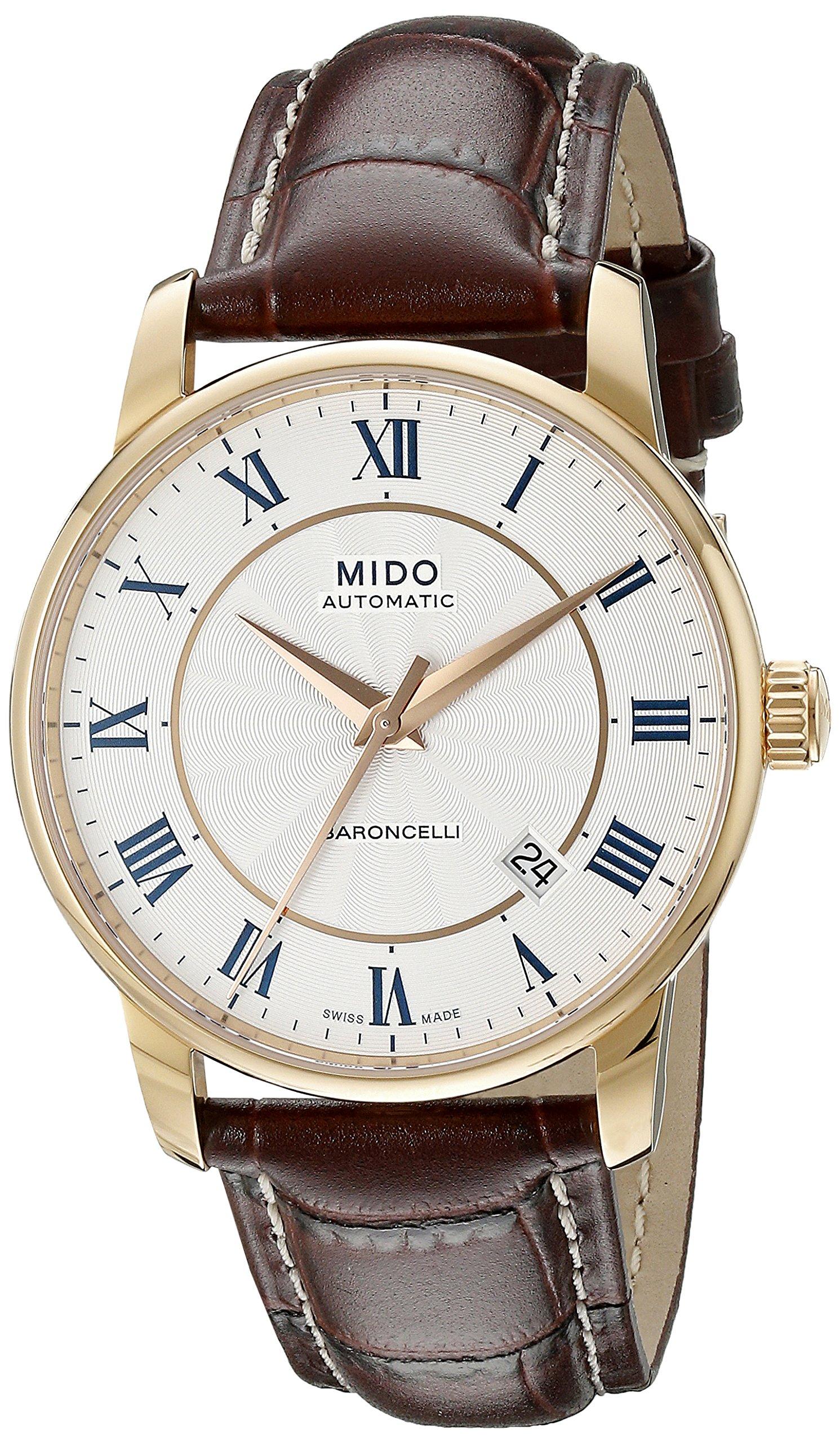 Mido-Herren-Armbanduhr-XL-Baroncelli-Analog-Automatik-Leder-M86002218