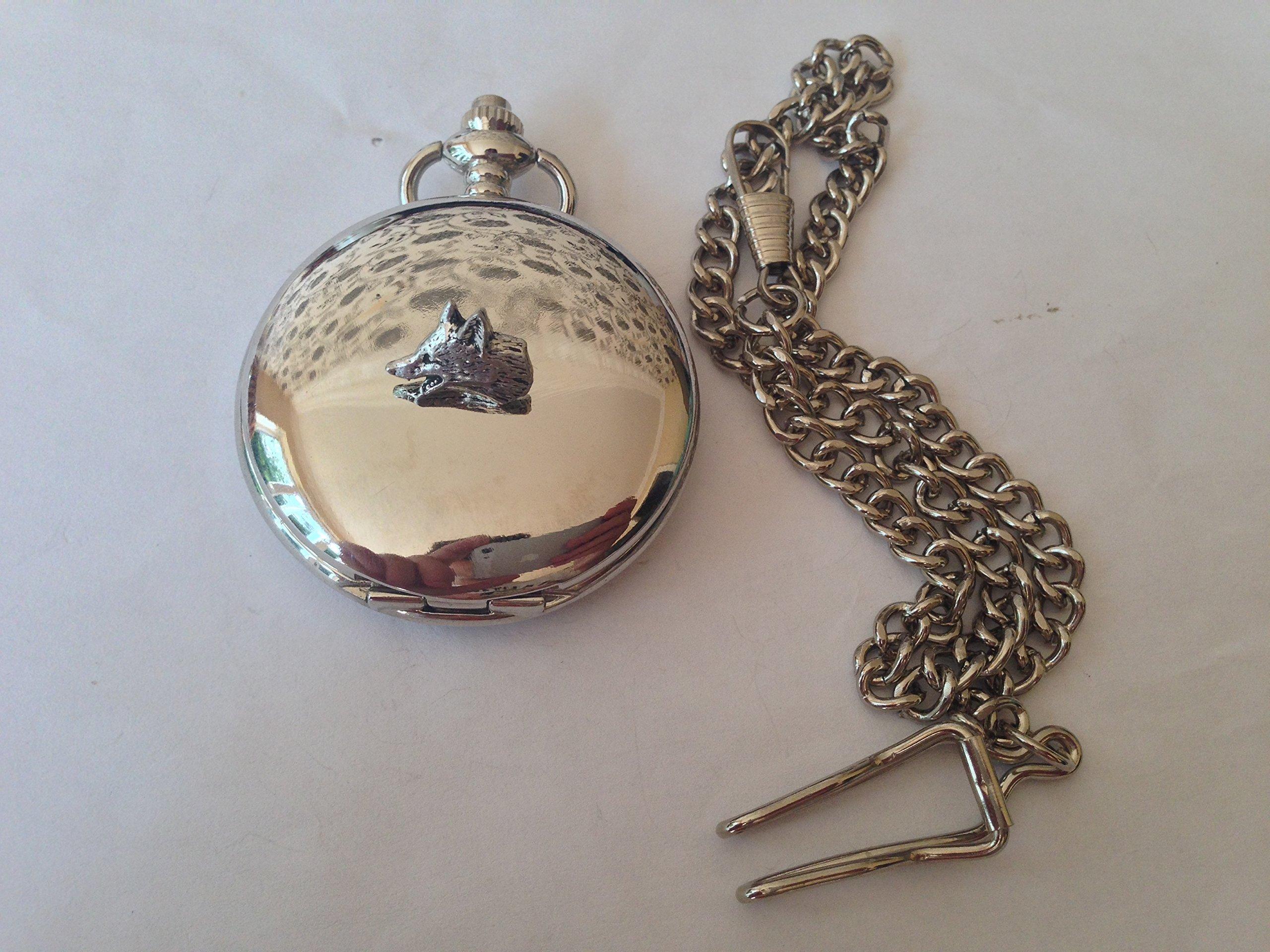 A11-Kleine-Fox-Head-Polierte-Silber-Herren-Geschenk-Quarz-Taschenuhr-hergestellt-in-Sheffield
