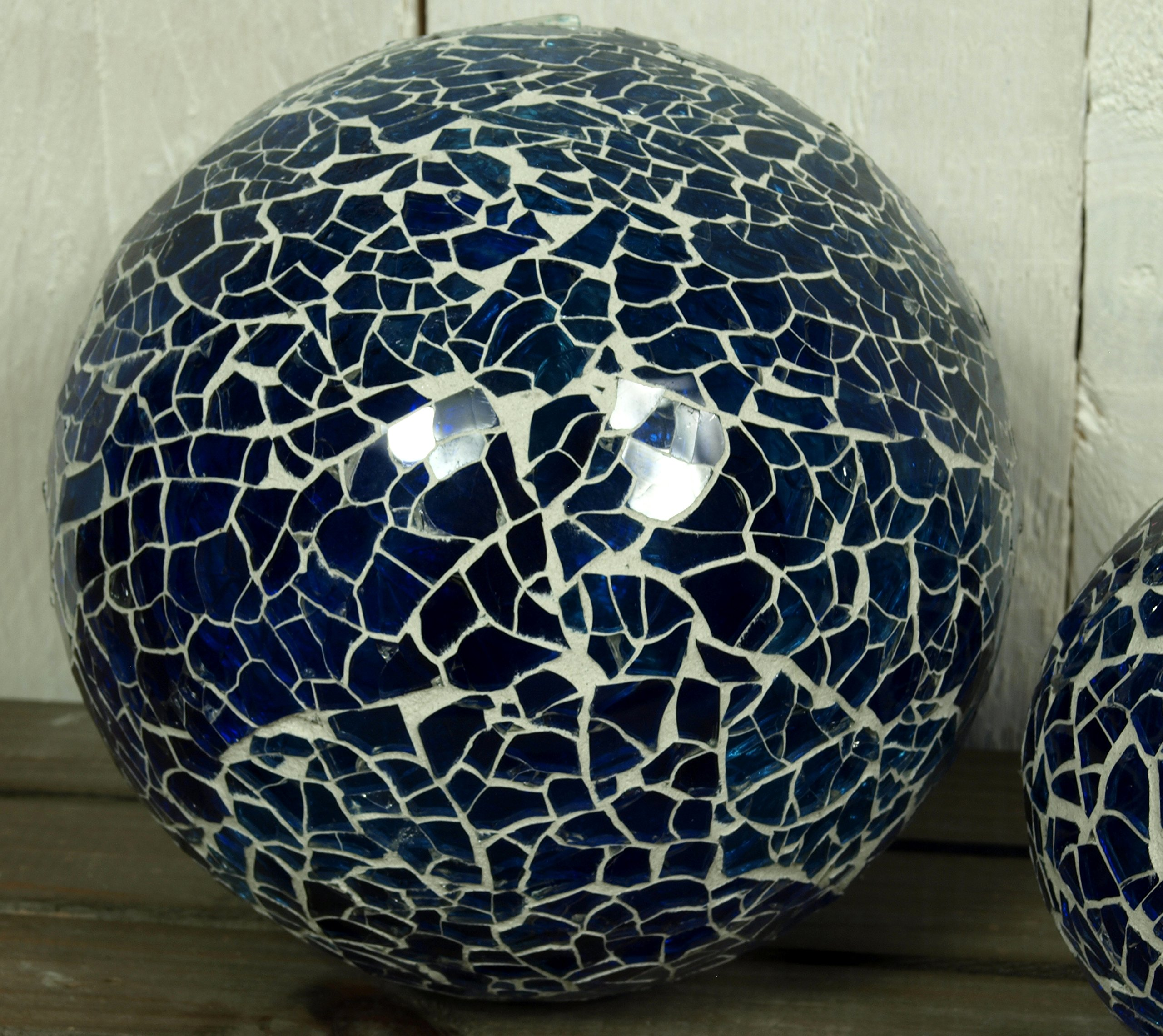 Unbekannt-2er-Set-Dekokugeln-Mosaik-Kugel-Kugel-blau-maritim-aus-Glas–ca-85-125cm