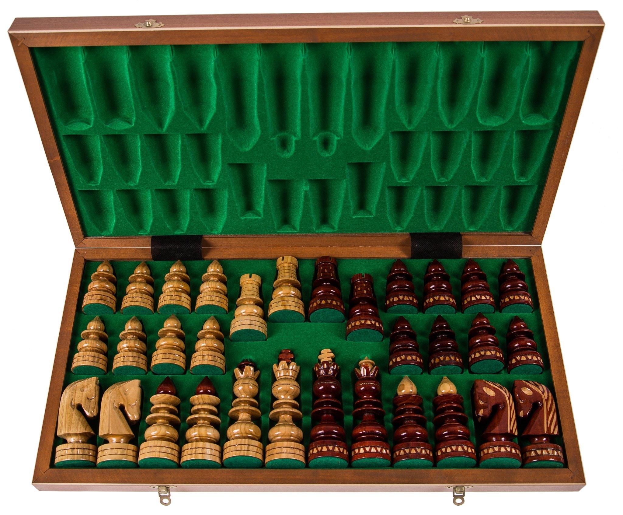 SQUARE-GAME-Schach-Schachspiel-BYZANZ-60-x-60-cm-Mahagoni-Schachfiguren-geschnitzt-aus-Holz