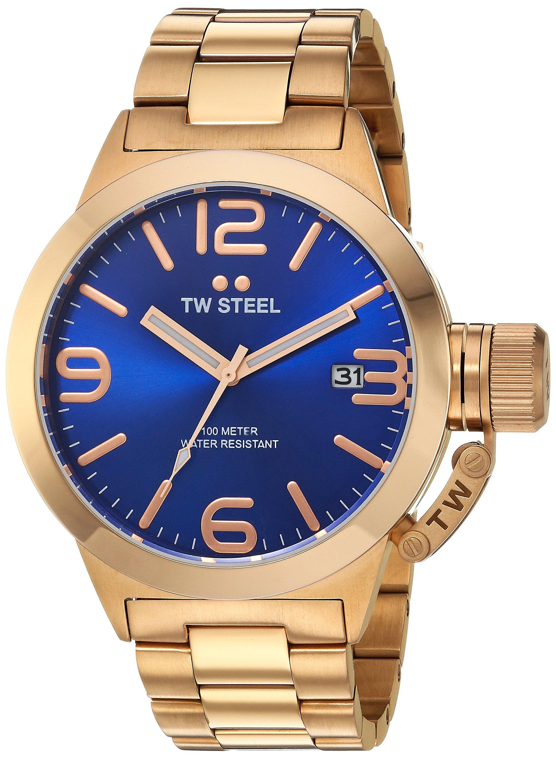 Unisex-Quarzuhr-Canteen-von-TW-Steel-mit-blauem-Zifferblatt-Analoganzeige-und-silbernem-rotgoldenen-Armband